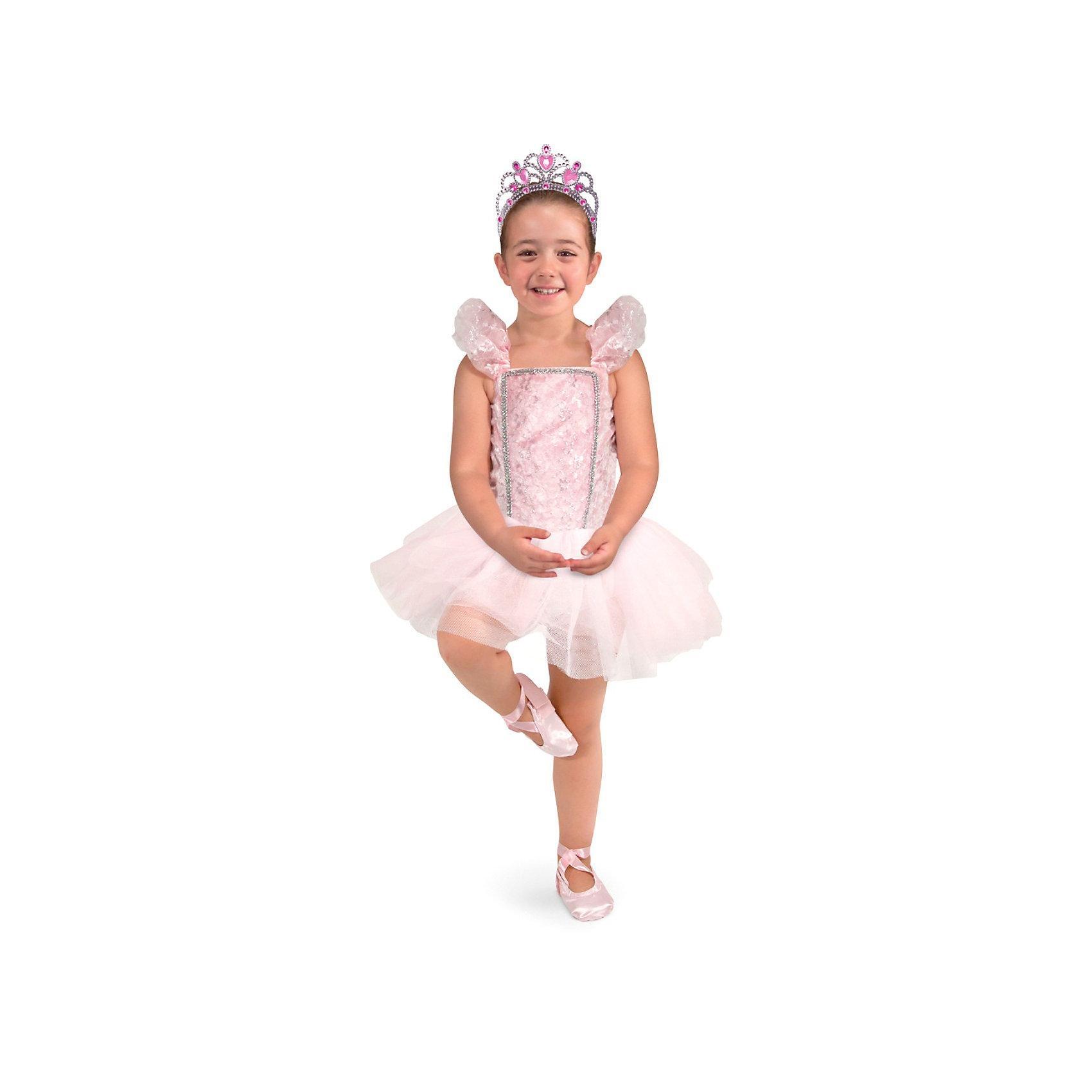 Карнавальный костюм  Балерина, Melissa &amp; DougКарнавальные костюмы и аксессуары<br>Все девочки обожают перевоплощения и танцы! Подарите Вашей девочке карнавальный костюм Балерина, Melissa &amp; Doug и счастью не будет предела. Балерины воплощение красоты и грации! Возможно только примерив замечательный костюм и тиару девочка захочет сама заниматься балетом. Карнавальный костюм Балерина прекрасно подойдет  для девочки 3-6 лет. Он будет хитом утренника в саду, новогодней вечеринки и забавной фотосессии. Подарите ребенку часы безграничной фантазии и творчества в костюме Балерина, Melissa &amp; Doug !<br><br>Дополнительная информация:<br><br>- Карнавальный костюм для девочки;<br>- В комплекте: платье балерины, пуанты, тиара;<br>- Отлично подойдет для праздников, карнавалов, вечеринок;<br>- Необычный костюм;<br>- Красочный дизайн;<br>- Размер упаковки: 46 х 2 х 60 см;<br>- Вес: 589 г<br><br>Карнавальный костюм  Балерина, Melissa &amp; Doug  можно купить в нашем интернет-магазине.<br><br>Ширина мм: 460<br>Глубина мм: 20<br>Высота мм: 600<br>Вес г: 589<br>Возраст от месяцев: 36<br>Возраст до месяцев: 72<br>Пол: Женский<br>Возраст: Детский<br>SKU: 3861972