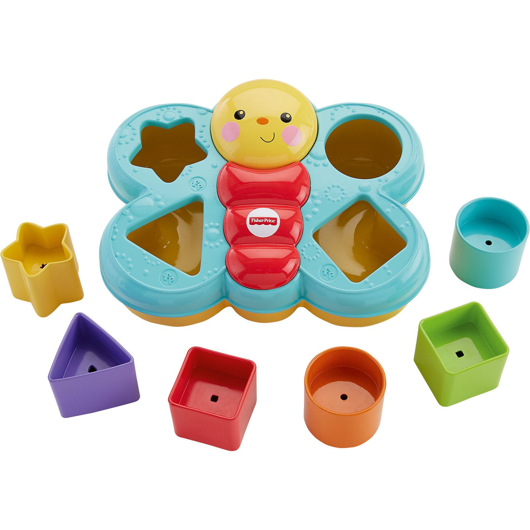 Сортер Бабочка, Fisher-PriceСортер Бабочка, Fisher-Price (Фишер-прайс)- красочная развивающая игрушка, которая обязательно привлечет внимание Вашего малыша. Сортер выполнен в виде яркой разноцветной бабочки с забавной улыбающейся мордочкой. В ее крылышках размещены выемки, по форме соответствующие разноцветным фигуркам, входящим в набор. Правильно разместив все фигурки по своим местам, малыш украсит крылышки бабочки. Игрушка развивает логическое мышление, зрительное восприятие, двигательную координацию и мелкую моторику.<br><br>Дополнительная информация:<br><br>- В комплекте: сортер Бабочка, 6 фигур разной формы.<br>- Материал: пластик.<br>- Размер упаковки: 17 x 21 x 10,3 см.<br>- Вес: 0,334 кг.<br><br>Сортер Бабочка, Fisher-Price (Фишер Прайс) можно купить в нашем интернет-магазине.<br><br>Ширина мм: 207<br>Глубина мм: 165<br>Высота мм: 104<br>Вес г: 321<br>Возраст от месяцев: 6<br>Возраст до месяцев: 18<br>Пол: Унисекс<br>Возраст: Детский<br>SKU: 3863147