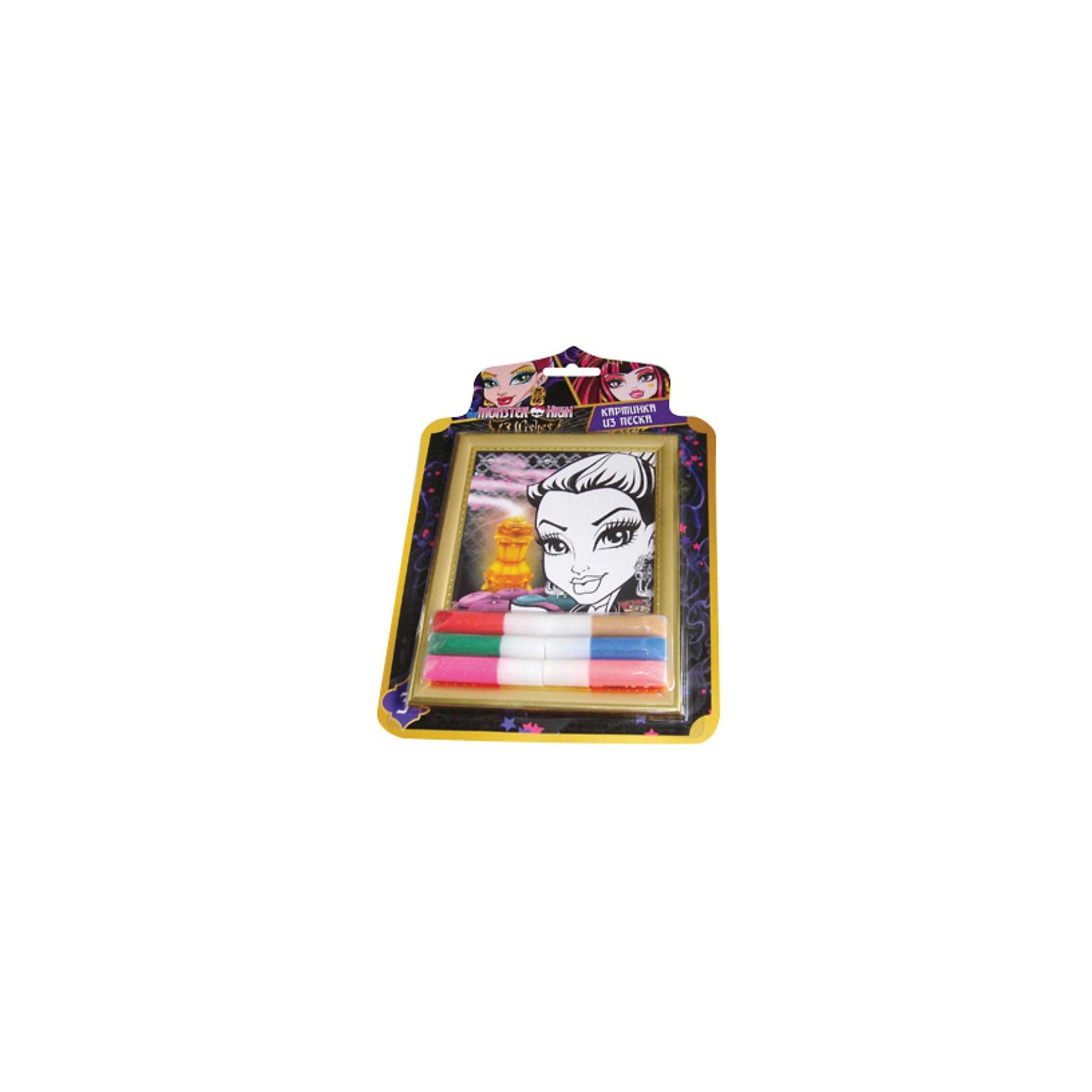 Набор Создай картинку 3D, Monster HighКартины из песка<br>Набор Создай картинку 3D, Monster High - увлекательный набор для детского творчества, который позволит Вашей девочке создать свои первые маленькие шедевры. Процесс создания картины из песка прост и не представляет сложности для ребенка, на основу уже нанесен контур рисунка, нужно только аккуратно приклеить на него песок. Разнообразие цветов позволит раскрасить картинку согласно своей фантазии. Результатом работы будет оригинальная картинка-портрет героини популярного мультсериала Мonster High (Школа монстров).<br><br>Дополнительная информация:<br><br>- В комплекте: рамка, картинка-трафарет, песок с клеем - 6 цветов х 5,5 гр.<br>- Материал: картон.<br>- Размер упаковки: 1,5 x 32 x 21,2 см.<br>- Вес: 180 гр.<br><br>Набор способствует развитию мелкой моторики рук, внимания, творческих и художественных способностей ребенка.<br><br>Набор Создай картинку 3D, Monster High (Монстр Хай) можно купить в нашем интернет-магазине.<br><br>Ширина мм: 15<br>Глубина мм: 212<br>Высота мм: 320<br>Вес г: 18<br>Возраст от месяцев: 36<br>Возраст до месяцев: 144<br>Пол: Женский<br>Возраст: Детский<br>SKU: 3866746
