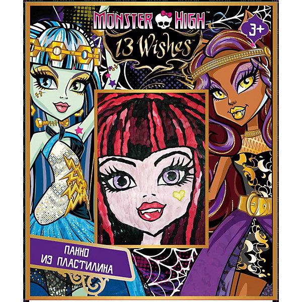 Панно из пластилина, Monster HighНаборы для лепки<br>Панно из пластилина, Monster High - увлекательный набор для детского творчества, который станет приятным сюрпризом для юной поклонницы популярного мультсериала Школа монстров. С помощью картинки-основы и пластилина разных цветов она сможет создать красочный портрет одной из героинь любимого мультфильма. Картинка украсит комнату Вашей девочки или станет подарком, сделанным собственными руками для ее друзей и родственников.<br><br>Дополнительная информация:<br><br>- В комплекте: пластилин 10 цветов, стек, картинка-основа. <br>- Размер упаковки: 19 ? 5 ? 22 см.<br>- Вес: 0,3 кг.<br><br>Панно из пластилина, Monster High (Монстр Хай) можно купить в нашем интернет-магазине.<br>Ширина мм: 50; Глубина мм: 185; Высота мм: 225; Вес г: 300; Возраст от месяцев: 36; Возраст до месяцев: 132; Пол: Женский; Возраст: Детский; SKU: 3866749;