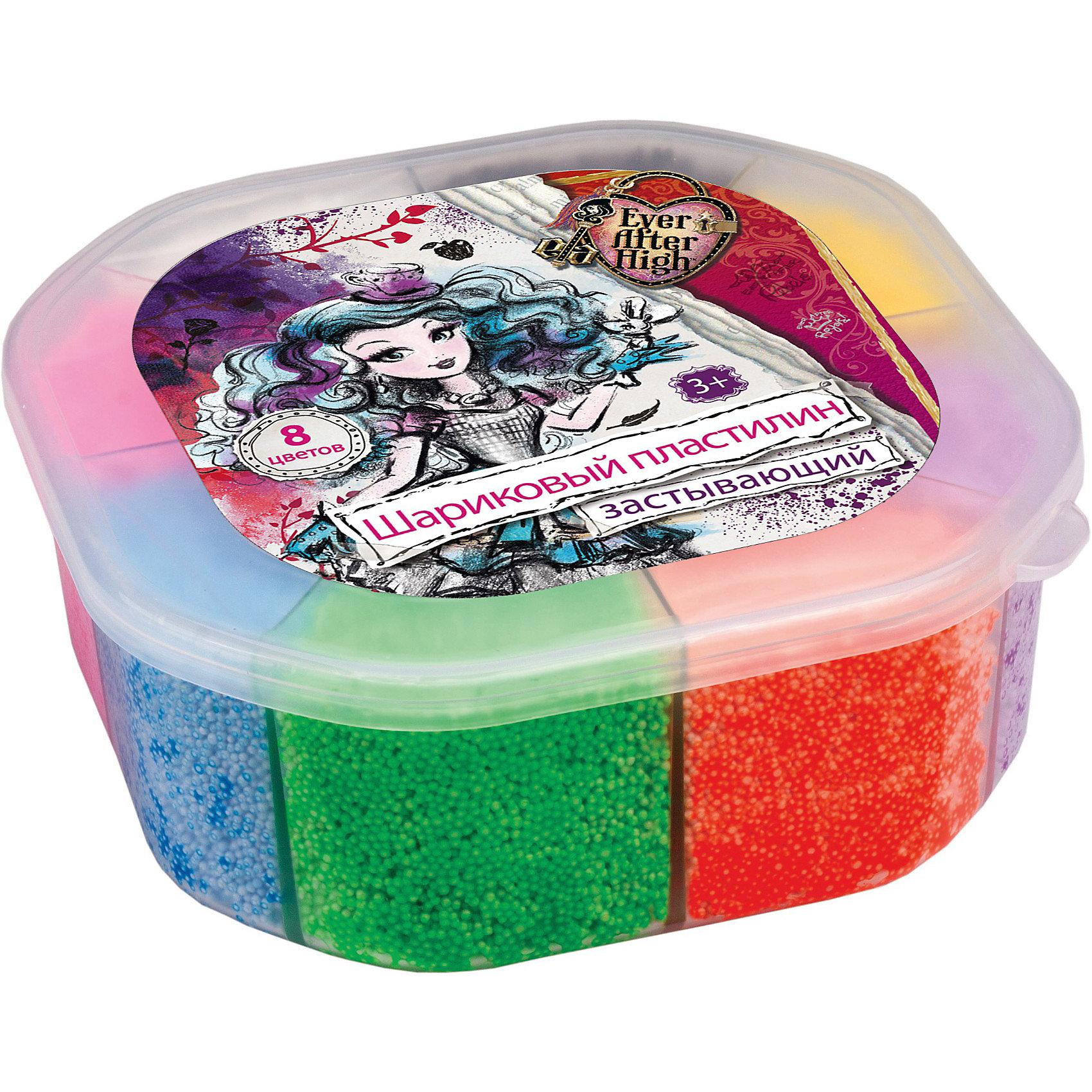Застывающий шариковый пластилин, 8 цветов, Ever After HighЗастывающий шариковый пластилин, Ever After High замечательно подойдет для детского творчества и школьных занятий. В комплекте 8 разных цветов, упакованных в пластиковый контейнер с изображением героинь популярного мультсериала Ever After High (Школа Долго и Счастливо). Пластилин необычной мелкозернистой структуры быстро застывает на воздухе. Занятия лепкой развивают у ребенка фантазию, творческие  способности и объемное воображение, тренируют координацию движений и мелкую моторику.<br><br>Дополнительная информация:<br><br>- В комплекте: 8 цветов х 9 гр.<br>- Размер упаковки: 5 ? 12 ? 12 см.<br>- Вес: 180 гр.<br><br>Застывающий шариковый пластилин, Ever After High (Эвер Афтер Хай) можно купить в нашем интернет-магазине.<br><br>Ширина мм: 50<br>Глубина мм: 120<br>Высота мм: 120<br>Вес г: 180<br>Возраст от месяцев: 36<br>Возраст до месяцев: 120<br>Пол: Женский<br>Возраст: Детский<br>SKU: 3866774