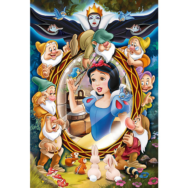 Пазлы Принцессы Дисней Белоснежка - коллаж, 160 элементовПазлы классические<br>Пазлы Принцессы Дисней Белоснежка - коллаж, 160 элементов – отличный подарок маленькой принцессе. Соединяя яркие, красочные элементы пазла, девочка очутиться в мире своей любимой сказки вместе с ее персонажами. Собрав все детали, у нее получится картинка с изображением Белоснежки с ее любимыми гномами. На картинке принцесса в красивом синем платье с желтой юбкой смотрится в овальное зеркало, а ее гномики весело выглядывают из-за зеркала. Элементы пазла легко соединяются между собой, так как они выполнены из плотного картона высокого качества. <br>Размер картинки в сложенном виде: 28 x 41 сантиметров. <br>Рекомендуемый возраст: от 5 лет.<br><br>Ширина мм: 291<br>Глубина мм: 195<br>Высота мм: 43<br>Вес г: 312<br>Возраст от месяцев: 84<br>Возраст до месяцев: 108<br>Пол: Женский<br>Возраст: Детский<br>Количество деталей: 160<br>SKU: 3869044