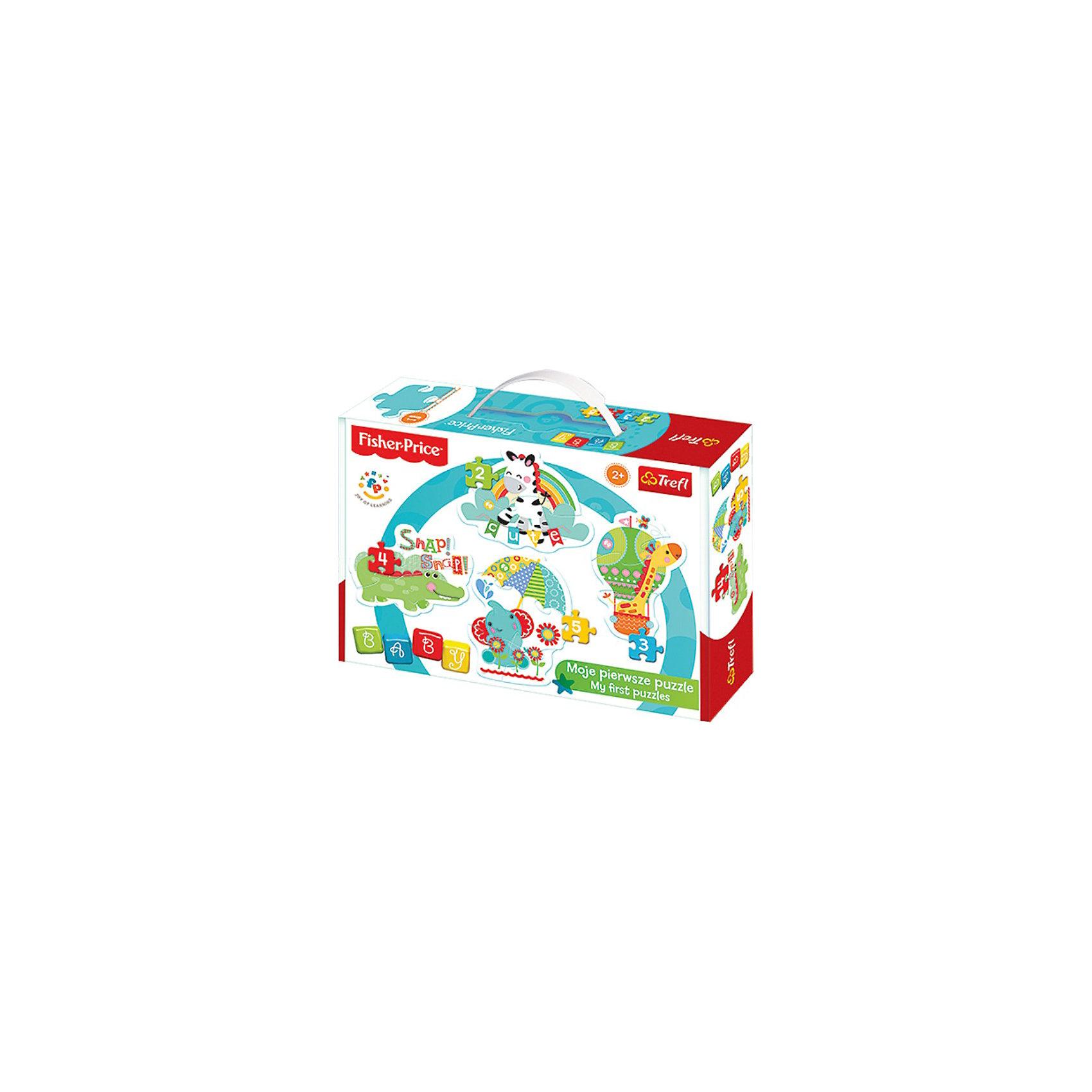 Пазлы Дикие животные 1, TreflПазлы для малышей<br>Пазлы для малышей от Trefl созданы с любовью и аккуратностью для самых маленьких любителей логических игр. Четкие яркие цвета, безопасные материалы, крепкая сцепка и добродушные картинки привлекут внимание ребенка и заинтересуют в сборке. В подарочной коробочке вы найдете 4 пазла с изображениями диких, но улыбчивых, животных: жирафа, слона, крокодила и зебры. Усложняйте задачу с помощью увеличения количества деталей: сначала можно собрать пазл из двух фрагментов, потом из трех, четырех и, наконец, пяти. А готовые картинки можно повесить на стену комнаты, украсив помещение! С помощью слов, указанных на изображениях животных, можно начать изучение английского языка или алфавита. Игра с пазлами развивает мелкую моторику и воображение. Толщина картона достигает 4мм, поэтому детали удобно держать в руке, а сборка пазлов принесет много позитива и радости! Возраст: от 2 лет. Размер упаковки: 6,2 x 18,7 x 26,7 см. В наборе 4 пазла.<br><br>Ширина мм: 271<br>Глубина мм: 198<br>Высота мм: 68<br>Вес г: 448<br>Возраст от месяцев: 24<br>Возраст до месяцев: 36<br>Пол: Унисекс<br>Возраст: Детский<br>Количество деталей: 2<br>SKU: 3869071