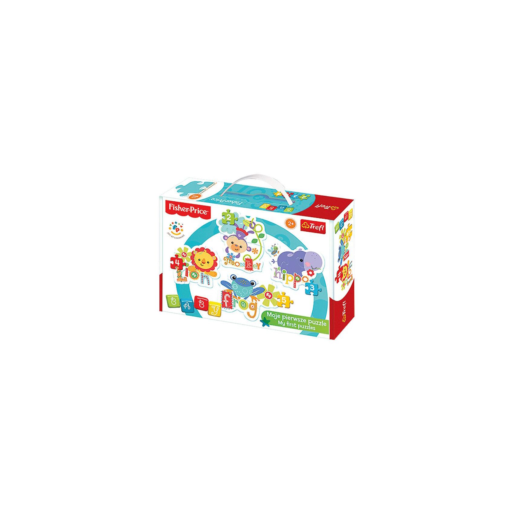 Пазлы Дикие животные 2, TreflПазлы для малышей<br>Пазлы для малышей от Trefl созданы с любовью и аккуратностью для самых маленьких любителей логических игр. Четкие яркие цвета, безопасные материалы, крепкая сцепка и добродушные картинки привлекут внимание ребенка и заинтересуют в сборке. В подарочной коробочке вы найдете 4 пазла с изображениями диких, но улыбчивых, животных: бегемота, льва, лягушки и обезьяны. Усложняйте задачу с помощью увеличения количества деталей: сначала можно собрать пазл из двух фрагментов, потом из трех, четырех и, наконец, пяти. А готовые картинки можно повесить на стену комнаты, украсив помещение! Игра с пазлами развивает мелкую моторику и воображение. Толщина картона достигает 4мм, поэтому детали удобно держать в руке, а сборка пазлов принесет много позитива и радости! Возраст: от 2 лет.<br><br>Ширина мм: 274<br>Глубина мм: 198<br>Высота мм: 66<br>Вес г: 445<br>Возраст от месяцев: 24<br>Возраст до месяцев: 36<br>Пол: Унисекс<br>Возраст: Детский<br>Количество деталей: 2<br>SKU: 3869072