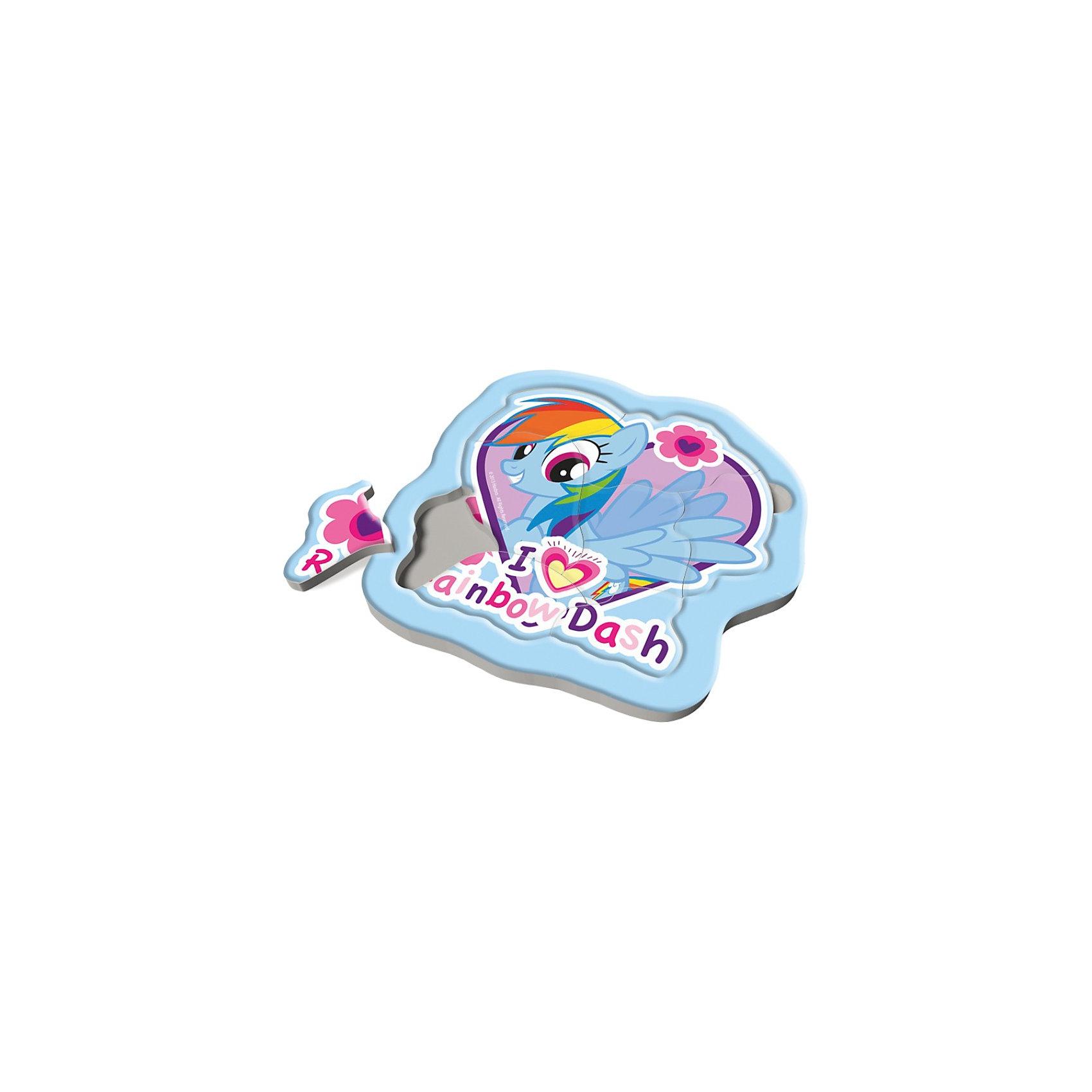 Пазлы Trefl Радужные пони, 8 элементовMy little Pony<br>Радужные пони – это маленькие удивительные лошадки, живущие высоко в небе, среди пушистых облаков, рядом с радугой и солнцем. Днем они любят резвиться посреди неба, а вечером танцуют со звездочками. Создайте свою волшебную историю про радужных пони, собирая кусочки пазлов в картинку, и ребенок будет счастлив.<br>Эти маленькие кусочки, изготовленные из высококачественного картона, научат ребенка доводить начатое до конца и не бояться сложностей, а также разовьют память и усидчивость.<br>Материал изделия: высококачественный картон. <br>Размер упаковки: 21,5 х 21,5 х 10 см<br>Размер собранной картинки: 21,3 x 21,3 см <br>Предназначено для детей старше 2 лет.<br><br>Ширина мм: 220<br>Глубина мм: 220<br>Высота мм: 15<br>Вес г: 227<br>Возраст от месяцев: 24<br>Возраст до месяцев: 48<br>Пол: Женский<br>Возраст: Детский<br>Количество деталей: 8<br>SKU: 3869078