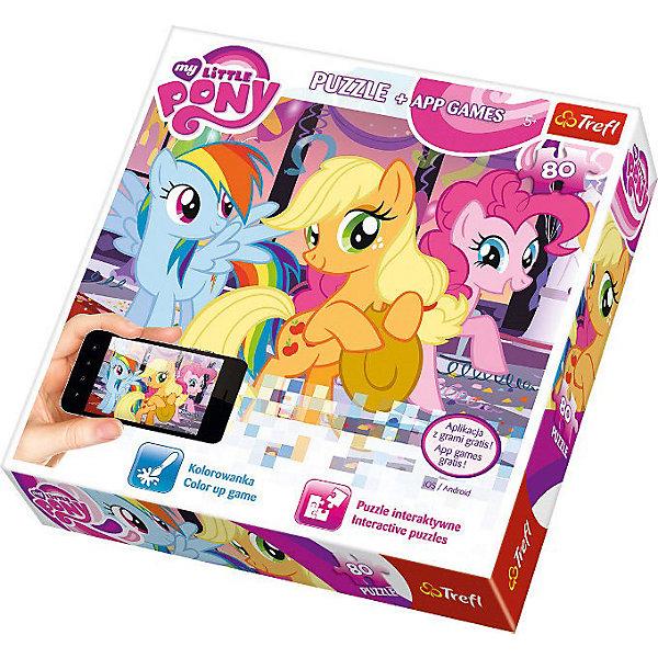 Набор Пазл Веселье, 80 деталей с мобильным приложением, TreflMy little Pony<br>Характеристики товара:<br><br>• возраст от 5 лет;<br>• материал: картон;<br>• в комплекте: 80 элементов;<br>• размер пазла 41х28 см;<br>• размер упаковки 26х26х4 см;<br>• страна производитель: Польша.<br><br>Пазл «Веселье» с мобильным приложением Trefl создан по мотивам известного мультсериала «My Little Pony». Это не только пазл, но и дополнительное мобильное приложение. Отсканировав карточку-ключ, ребенок попадет в удивительный мир игр с любимыми персонажами. Собирая пазл, у ребенка развиваются моторика рук, усидчивость, внимательность.<br><br>Пазл «Веселье» с мобильным приложением Trefl можно приобрести в нашем интернет-магазине.<br>Ширина мм: 263; Глубина мм: 261; Высота мм: 43; Вес г: 364; Возраст от месяцев: 72; Возраст до месяцев: 96; Пол: Женский; Возраст: Детский; Количество деталей: 80; SKU: 3869081;