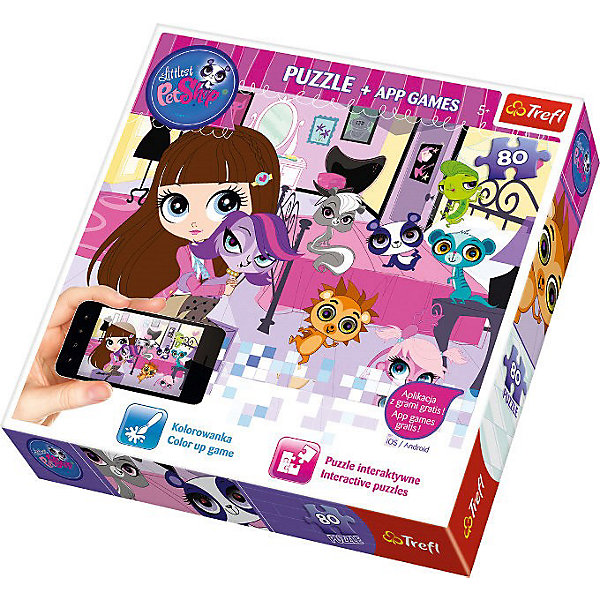 Пазлы набор Trefl Вечерние игры, 80 деталей + мобильное приложениеПазлы для малышей<br>Характеристики товара:<br><br>• возраст: от 4 лет;<br>• количество элементов: 80;<br>• материал: картон;<br>• размер собранного пазла: 41х28 см;<br>• размер упаковки: 226х26х4 см;<br>• страна производства: Польша<br><br>Компания Trefl – известный и давний представитель различных настольных игр, предлагает оценить новинку: пазлы «Вечерние игры» и мобильное приложение к ним! Малыш из популярной серии PetShop любит веселиться, узнай, во что он любит играть долгими вечерами!<br><br>Пазлы «Вечерние игры» и мобильно приложение, входящее в игровой комплект вызовут неподдельный интерес и бурный восторг даже у самого неугомонного непоседы, а маме дадут возможность спокойно заняться своими домашними делами.<br><br>Пазлы набор Trefl Вечерние игры, 80 деталей + мобильное приложение можно купить в нашем интернет-магазине.<br><br>Ширина мм: 263<br>Глубина мм: 261<br>Высота мм: 43<br>Вес г: 370<br>Возраст от месяцев: 72<br>Возраст до месяцев: 96<br>Пол: Женский<br>Возраст: Детский<br>Количество деталей: 80<br>SKU: 3869082