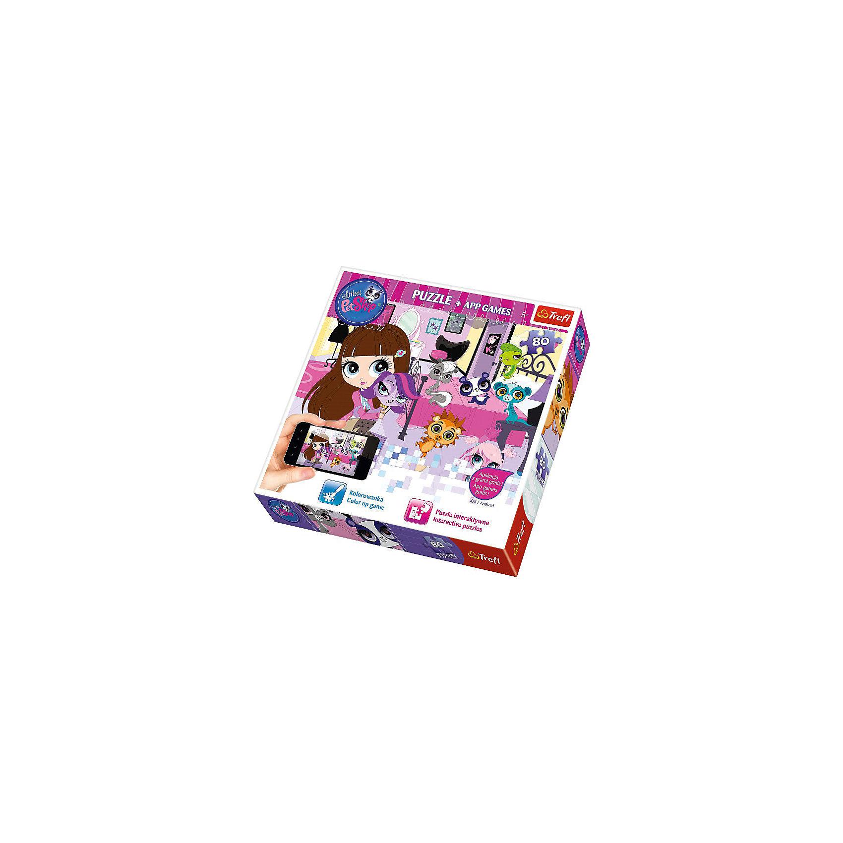 Пазлы набор Trefl Вечерние игры, 80 деталей + мобильное приложениеПопулярные игрушки<br>Компания Trefl – известный и давний представитель различных настольных игр, предлагает оценить новинку: пазлы «Вечерние игры» и мобильное приложение к ним! Малыш из популярной серии PetShop любит веселиться, узнай, во что он любит играть долгими вечерами!<br>Пазлы «Вечерние игры» и мобильно приложение, входящее в игровой комплект вызовут неподдельный интерес и бурный восторг даже у самого неугомонного непоседы, а маме дадут возможность спокойно заняться своими домашними делами.<br>Материал изделия: высококачественный картон. <br>Размер упаковки: 26 х 26 х 4 см<br>Размер собранной картинки: 41 х 28 см<br><br>Предназначено для детей старше 5 лет<br><br>Ширина мм: 263<br>Глубина мм: 261<br>Высота мм: 43<br>Вес г: 370<br>Возраст от месяцев: 72<br>Возраст до месяцев: 96<br>Пол: Женский<br>Возраст: Детский<br>Количество деталей: 80<br>SKU: 3869082