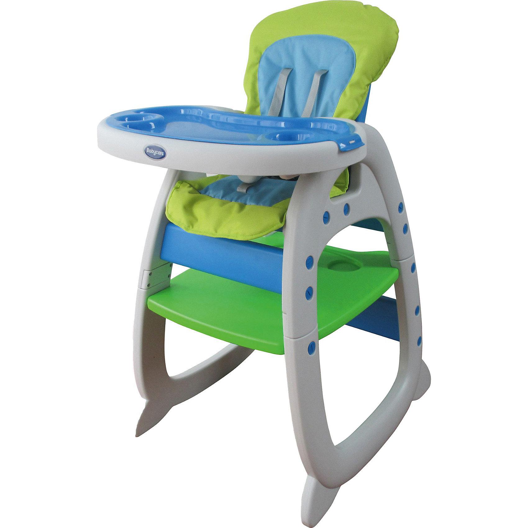 Стульчик-трансформер O-ZONE, Baby Care, зеленыйХарактеристики:<br><br>• комплект O-ZONE используется как стульчик для кормления и как столик со стульчиком;<br>• конструкция: трансформер;<br>• регулируется спинка: 3 положения;<br>• регулируется глубина столешницы: 3 положения;<br>• имеются 5-ти точечные ремни безопасности;<br>• съемный поднос с углублениями для посуды;<br>• съемные чехлы: стираются при температуре 30 градусов;<br>• материал: пластик, полиэстер (моющееся покрытие);<br>• размер стульчика: 65,5х72х106 см;<br>• вес: 7,6 кг.<br><br>Стульчик-трансформер для кормления малыша и использования как парты со стульчиком – комплект 2в1 для детей в возрасте от 6 месяцев до 3-х лет. Стульчик оснащен ремнями безопасности, имеет регулируемые угол наклона спинки и глубины столешницы. Компактно складывается для хранения и транспортировки. <br><br>Стульчик-трансформер O-ZONE, Baby Care, зеленый можно купить в нашем интернет-магазине.<br><br>Ширина мм: 660<br>Глубина мм: 270<br>Высота мм: 550<br>Вес г: 8700<br>Цвет: зеленый<br>Возраст от месяцев: 6<br>Возраст до месяцев: 36<br>Пол: Унисекс<br>Возраст: Детский<br>SKU: 3872047