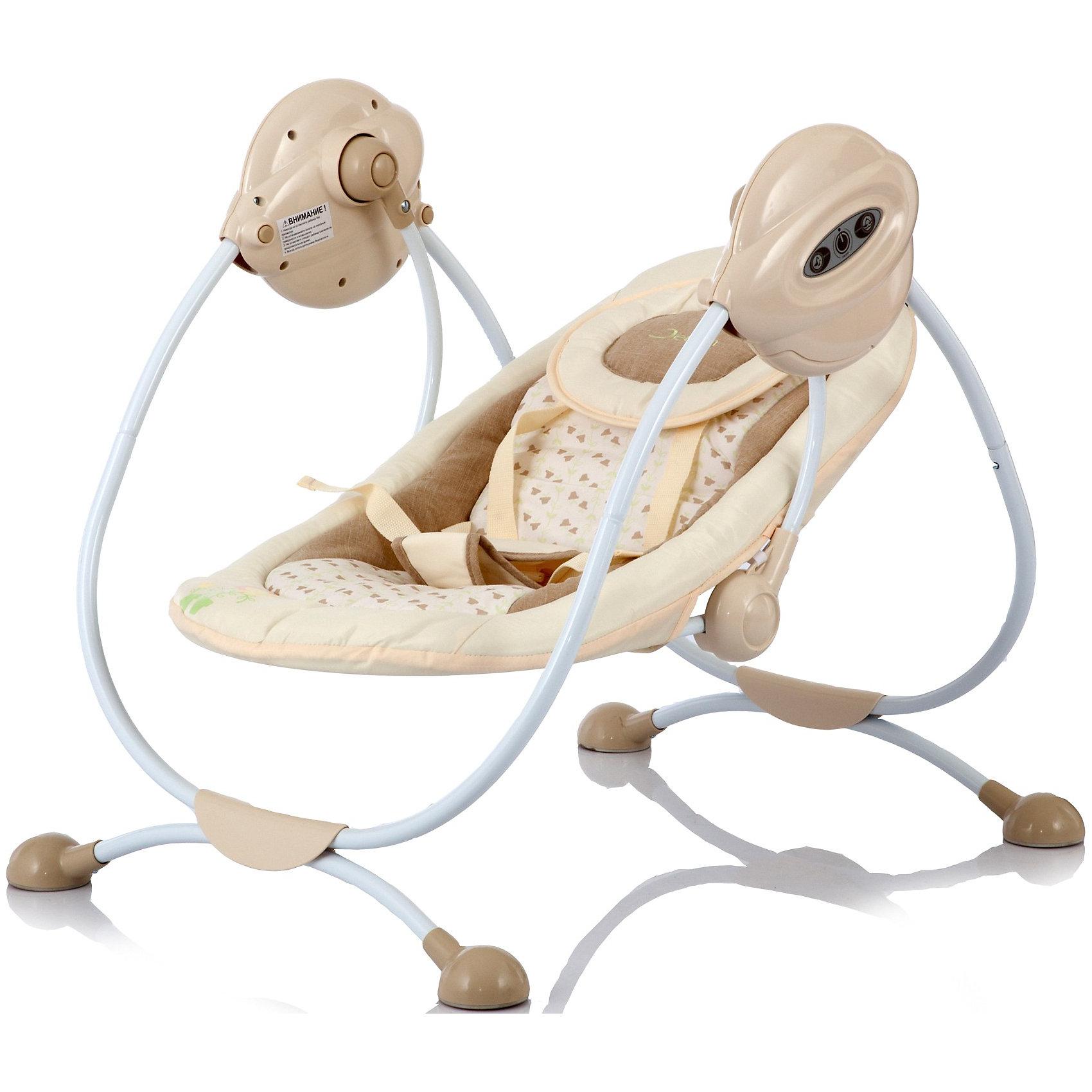 Электрокачели Surf с адаптером, Jetem, бежевыйКомфортные электрокачели для малышей. Есть 3 скорости укачивания и музыкальный блок с 3-мя мелодиями - все самое необходимое, чтобы успокоить ребенка перед сном. Спинку сидения можно регулировать в двух положениях: от комфортного горизонтального для младенца, до полулежачего для уже подросшего малыша. 5-точечные ремни безопасности надежно зафиксируют ребенка в кресле, при этом не стеснив его движений. Съемный чехол легко стирается. Для удобства родителей качели оснащены таймером для остановки. <br><br>Дополнительная информация:<br><br>Рекомендованы для детей c рождения до 6 месяцев (весом до 11 кг)<br>Электронный музыкальный блок с 3-мя мелодиями (работает от 4 батареек типа LR14 или от сети);<br>Размер разложенного спального места: 74х40 см.<br>Размер качелей: 60х58х73 см<br>Вес качелей 5 кг.<br>Адаптер для подключения к электросети в комплект<br><br><br><br>Электрокачели Surf с адаптером, Jetem (Жетем), бежевый можно купить в нашем магазине.<br><br>Ширина мм: 730<br>Глубина мм: 580<br>Высота мм: 600<br>Вес г: 4120<br>Цвет: бежевый<br>Возраст от месяцев: 0<br>Возраст до месяцев: 6<br>Пол: Унисекс<br>Возраст: Детский<br>SKU: 3872051