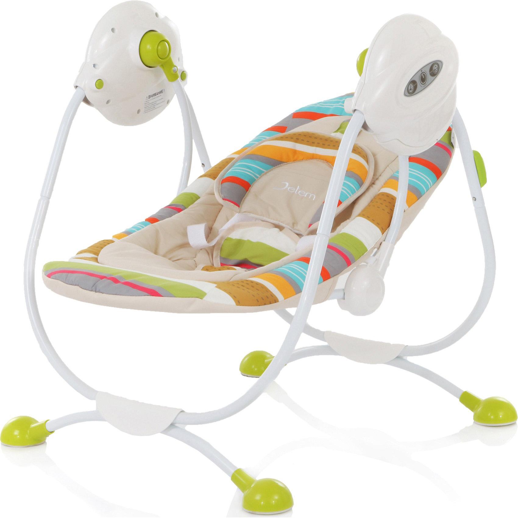 Электрокачели Surf с адаптером, Jetem, зеленыйКачели электронные<br>Комфортные электрокачели для малышей. Есть 3 скорости укачивания и музыкальный блок с 3-мя мелодиями - все самое необходимое, чтобы успокоить ребенка перед сном. Спинку сидения можно регулировать в двух положениях: от комфортного горизонтального для младенца, до полулежачего для уже подросшего малыша. 5-точечные ремни безопасности надежно зафиксируют ребенка в кресле, при этом не стеснив его движений. Съемный чехол легко стирается. Для удобства родителей качели оснащены таймером для остановки. <br><br>Дополнительная информация:<br><br>Рекомендованы для детей c рождения до 6 месяцев (весом до 11 кг)<br>Электронный музыкальный блок с 3-мя мелодиями (работает от 4 батареек типа LR14 или от сети);<br>Размер разложенного спального места: 74х40 см.<br>Размер качелей: 60х58х73 см<br>Вес качелей 5 кг.<br>Адаптер для подключения к электросети в комплект<br><br><br><br>Электрокачели Surf с адаптером, Jetem (Жетем), зеленый можно купить в нашем магазине.<br><br>Ширина мм: 730<br>Глубина мм: 580<br>Высота мм: 600<br>Вес г: 16000<br>Цвет: зеленый<br>Возраст от месяцев: 0<br>Возраст до месяцев: 6<br>Пол: Унисекс<br>Возраст: Детский<br>SKU: 3872052