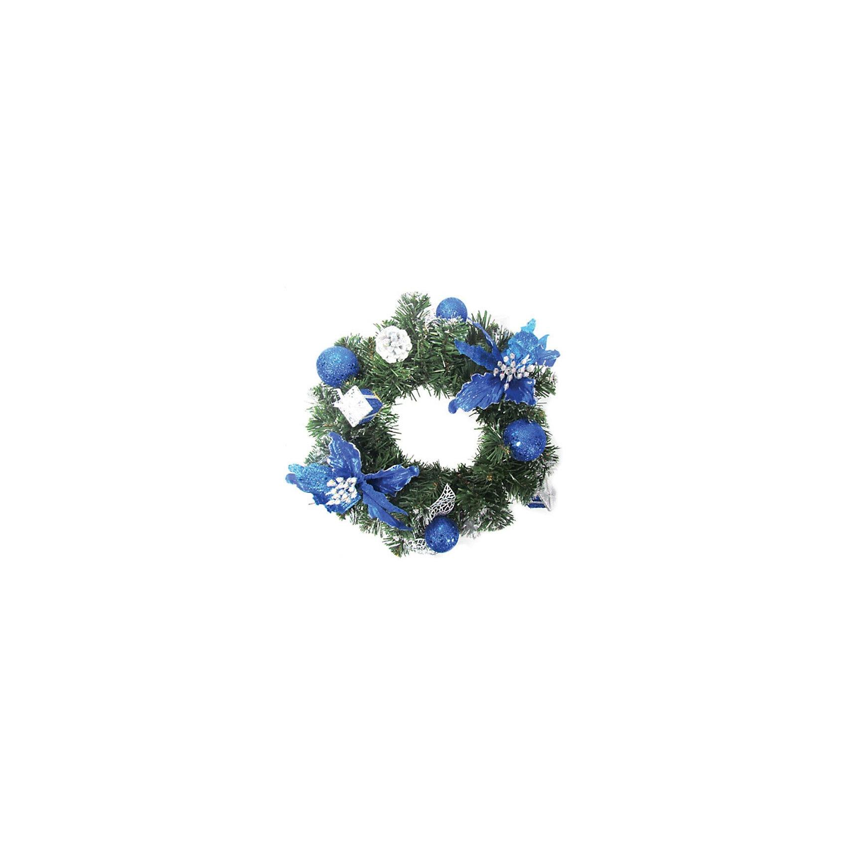 Венок хвойный с синими украшениями, 30 см, TUKZARХвойный венок, Tukzar (Тукзар) станет замечательным украшением Вашего интерьера и поможет создать волшебную атмосферу новогодних и рождественских праздников. Нарядный, искусно выполненный венок в виде еловых веток красиво декорирован синими украшениями, шишками и ленточками. Венок можно повесить на двери или стены комнаты, он будет чудесно смотреться и радовать детей и взрослых. <br><br>Дополнительная информация:<br><br>- Цвет украшений: синий.<br>- Диаметр венка: 30 см.<br>- Размер упаковки: 30 х 30 х 10см.<br>- Вес: 0,278 кг. <br><br>Хвойный венок, Tukzar (Тукзар) можно купить в нашем интернет-магазине.<br><br>Ширина мм: 300<br>Глубина мм: 300<br>Высота мм: 100<br>Вес г: 277<br>Возраст от месяцев: 36<br>Возраст до месяцев: 168<br>Пол: Унисекс<br>Возраст: Детский<br>SKU: 3875830