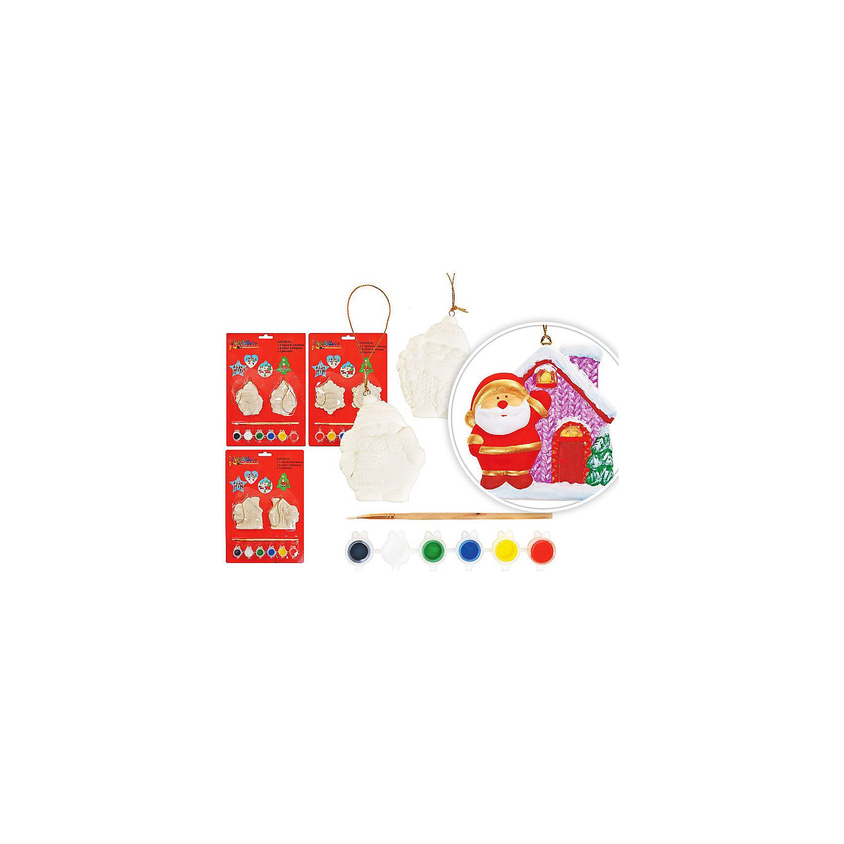 Набор керамических сувениров для раскрашивания, TUKZARНабор керамических сувениров для раскрашивания, Tukzar (Тукзар) станет замечательным новогодним подарком для Вашего ребенка. В комплект входят две керамических формы, которые надо раскрасить согласно своей фантазии, кисточка и 6 красок. В ассортименте представлены 3 варианта набора с формами в виде звездочек, Деда Мороза с домиком или мешком подарков. Набор оформлен в блистерную упаковку.<br><br>Дополнительная информация:<br><br>- Материал: керамика.<br>- В комплекте: 2 формы для раскрашивания, кисточка, 6 красок.<br>- Размер упаковки: 20 х 28 см.<br>- Вес: 0,275 кг. <br><br>Набор керамических сувениров для раскрашивания, Tukzar (Тукзар) можно купить в нашем интернет-магазине.<br><br>ВНИМАНИЕ! Данный артикул имеется в наличии в разных вариантах исполнения. Заранее выбрать определенный вариант нельзя. При заказе нескольких наборов возможно получение одинаковых.<br><br>Ширина мм: 300<br>Глубина мм: 300<br>Высота мм: 100<br>Вес г: 190<br>Возраст от месяцев: 36<br>Возраст до месяцев: 168<br>Пол: Унисекс<br>Возраст: Детский<br>SKU: 3875836