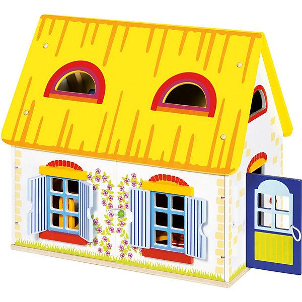 Кукольный дом Коттедж,  gokiДомики для кукол<br>В этом прекрасном и уютном домике, уже есть все для спокойной и счастливой жизни кукол! Коттедж имеет два этажа. На первом этаже располагается кухня- гостиная, где можно комфортно покушать или попить чай за уютным столом, на удобных стульях. Приготовить вкусную еду можно на плите, оборудованной всем необходимым - даже вытяжкой. Так же в комнате имеется шкаф, два кресла и табуретка. На втором этаже- уютная спаленка с большой удобной кроватью, ковриком, тумбочкой и оригинальным комодом. Домик имеет окна и дверь. Для удобства игры, крыша дома съемная (с одной стороны), одна из стен - открывается. Коттедж и все наполнение  сделаны из натурального дерева, окрашены нетоксичной краской на водной основе. <br><br>Дополнительная информация:<br><br>- Комплектация: дом, мебель, предметы декора - всего 19 предметов.<br>- Материал: дерево.<br>- Съемные детали для удобной игры.<br>- Размер: 39,5x24,5x35 см.<br>- Вес: 4, 79 кг.<br><br>Кукольный дом Коттедж с наполнением GOKI (Гоки) можно купить в нашем магазине.<br><br>Ширина мм: 395<br>Глубина мм: 245<br>Высота мм: 350<br>Вес г: 4790<br>Возраст от месяцев: 36<br>Возраст до месяцев: 72<br>Пол: Женский<br>Возраст: Детский<br>SKU: 3876013