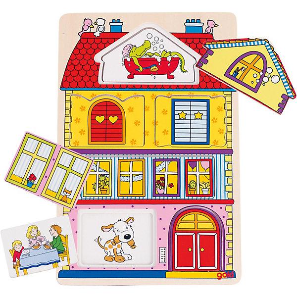 Пазл трехслойный Наш дом, goki3D пазлы<br>Замечательная развивающая игрушка-загадка и, одновременно  пазл, наглядно рассказывает  ребенку о домашней жизни. Части пазла составляются только в определенном порядке. Это поможет ребенку в случае с затруднениями в угадывании правильного ответа. Игра развивает речь, память, моторику ребенка, расширяет кругозор. Пазл выполнен из натурального дерева, раскрашен нетоксичными красками на водной основе.<br><br>Дополнительная информация:<br><br>- 12 элементов.<br>- Материал: дерево.<br>- Размер: 19,5 х 29,5 см.<br>- Цвет: разноцветный.<br><br>Пазл трёхслойный Наш дом GOKI (Гоки) можно купить в нашем магазине.<br><br>Ширина мм: 195<br>Глубина мм: 295<br>Высота мм: 100<br>Вес г: 450<br>Возраст от месяцев: 24<br>Возраст до месяцев: 60<br>Пол: Унисекс<br>Возраст: Детский<br>SKU: 3876016