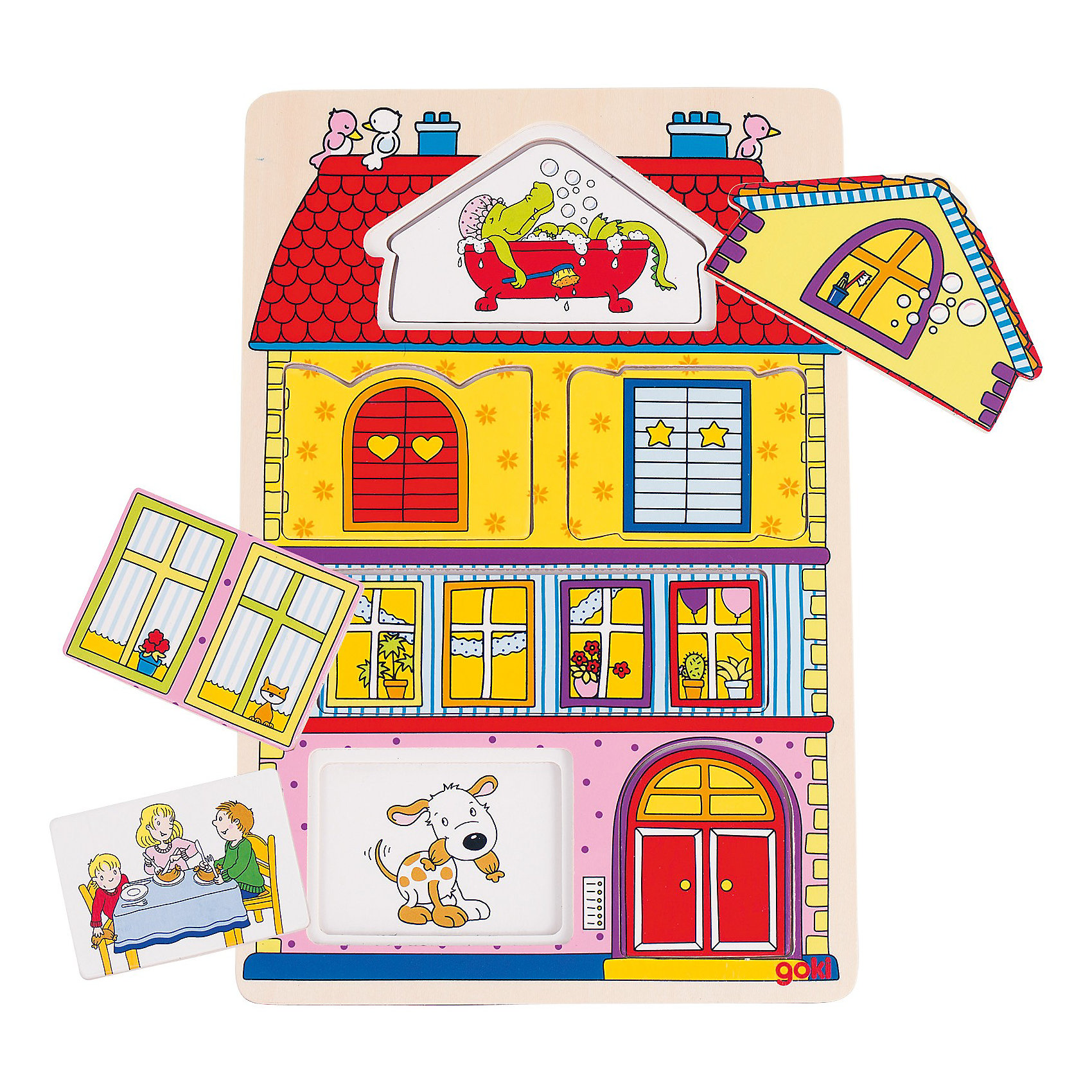Пазл трехслойный Наш дом, gokiДеревянные игры и пазлы<br>Замечательная развивающая игрушка-загадка и, одновременно  пазл, наглядно рассказывает  ребенку о домашней жизни. Части пазла составляются только в определенном порядке. Это поможет ребенку в случае с затруднениями в угадывании правильного ответа. Игра развивает речь, память, моторику ребенка, расширяет кругозор. Пазл выполнен из натурального дерева, раскрашен нетоксичными красками на водной основе.<br><br>Дополнительная информация:<br><br>- 12 элементов.<br>- Материал: дерево.<br>- Размер: 19,5 х 29,5 см.<br>- Цвет: разноцветный.<br><br>Пазл трёхслойный Наш дом GOKI (Гоки) можно купить в нашем магазине.<br><br>Ширина мм: 195<br>Глубина мм: 295<br>Высота мм: 100<br>Вес г: 450<br>Возраст от месяцев: 24<br>Возраст до месяцев: 60<br>Пол: Унисекс<br>Возраст: Детский<br>SKU: 3876016