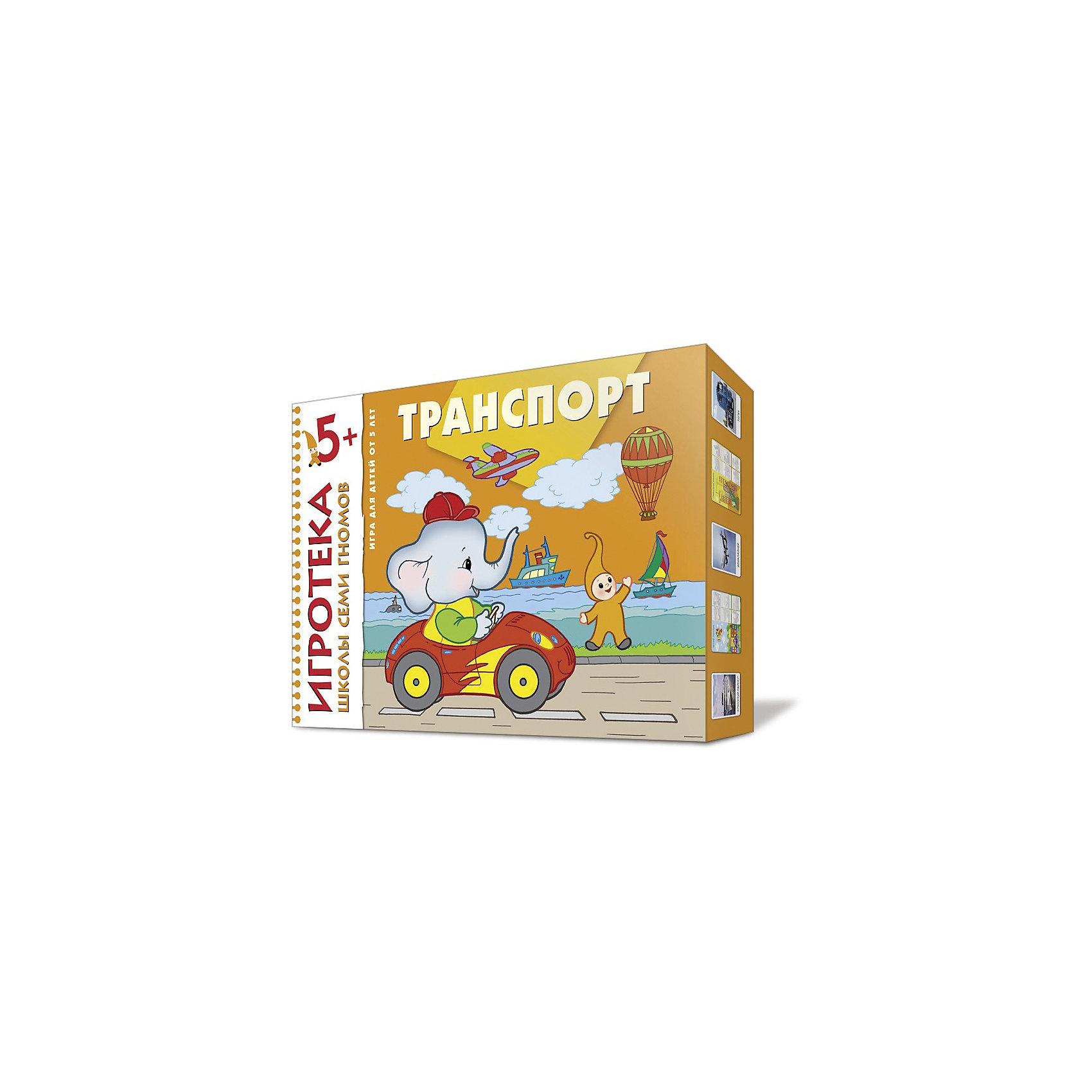 Развивающий набор Транспорт 5+Игра «Транспорт» формирует у детей представления об окружающем мире, а именно - о различных видах транспорта.<br>В игровой форме ваш малыш узнает не только названия различных транспортных средств, но и научится различать транспорт по назначению: грузовой, военный, воздушный,  водный, общественный, личный, строительные машины и машины-спасатели.<br>Игра включает в себя 8 сценариев игр, также вы можете придумать и свои, новые варианты, а можете дать возможность  малышу придумать свою увлекательную игру.<br><br>Дополнительная информация:<br><br>- Комплектация: 8 больших карт-лото, 48 маленьких карточек с фотоизображениями различных видов транспорта, инструкция к игре.<br>- Карточки из плотного картона.<br>- Размер: 290x210 мм<br>- Автор: Дарья Денисова<br>- Иллюстрации: цветные.<br><br> Игру  Транспорт, Школа Семи Гномов, 5+ Игротека можно купить в нашем магазине.<br><br>Ширина мм: 220<br>Глубина мм: 300<br>Высота мм: 35<br>Вес г: 100<br>Возраст от месяцев: 60<br>Возраст до месяцев: 72<br>Пол: Унисекс<br>Возраст: Детский<br>SKU: 3877615