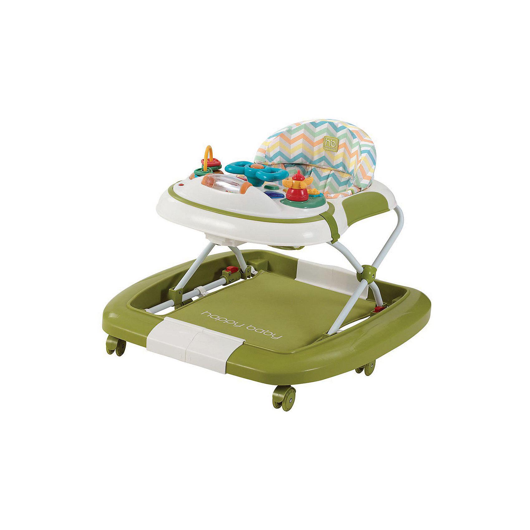 Ходунок-качалка Robin, Happy Baby, зеленыйХодунок-качалка Robin, Happy Baby (Хеппи Беби), зеленый – это удобные и функциональные ходунки, которые трансформируются в качалку.<br>Яркие цвета ходунков Robin понравятся и родителям, и малышам. Ходунки-качалка на широком и устойчивом основании предназначены для ребенка с 6 до 18 месяцев. Регулируемое по высоте сиденье легко фиксируется в одном из трёх положений. Если ребенку надоело ходить или он устал – конструкция легко превращается в качалку с подвесным ковриком для ножек. Мягкие силиконовые колеса обеспечивают комфортное перемещение и не царапают напольное покрытие. Съёмный чехол легко чистить, компактная конструкция удобна для хранения даже в небольшой квартире. Игровая панель с увлекательными игрушками и звуковыми эффектами развивает зрение, слух, хватательный рефлекс и мелкую моторику. Игровая панель легко снимается, открывая столик с подстаканником.<br><br>Дополнительная информация:<br><br>- Цвет: зеленый<br>- Размер в сложенном виде: 70х68х30 см.<br>- Размер в разложенном виде: 70х68х54 см.<br>- Регулируемое сиденье на высоте: 22, 24 и 26 см.<br>- Игровая панель работает от двух пальчиковых батареек тип АА (в комплект не входят)<br>- Вес: 5.8 кг.<br><br>Ходунок-качалку Robin, Happy Baby(Хеппи Беби), зеленый можно купить в нашем интернет-магазине.<br><br>Ширина мм: 135<br>Глубина мм: 675<br>Высота мм: 745<br>Вес г: 6140<br>Возраст от месяцев: 6<br>Возраст до месяцев: 18<br>Пол: Унисекс<br>Возраст: Детский<br>SKU: 3877620