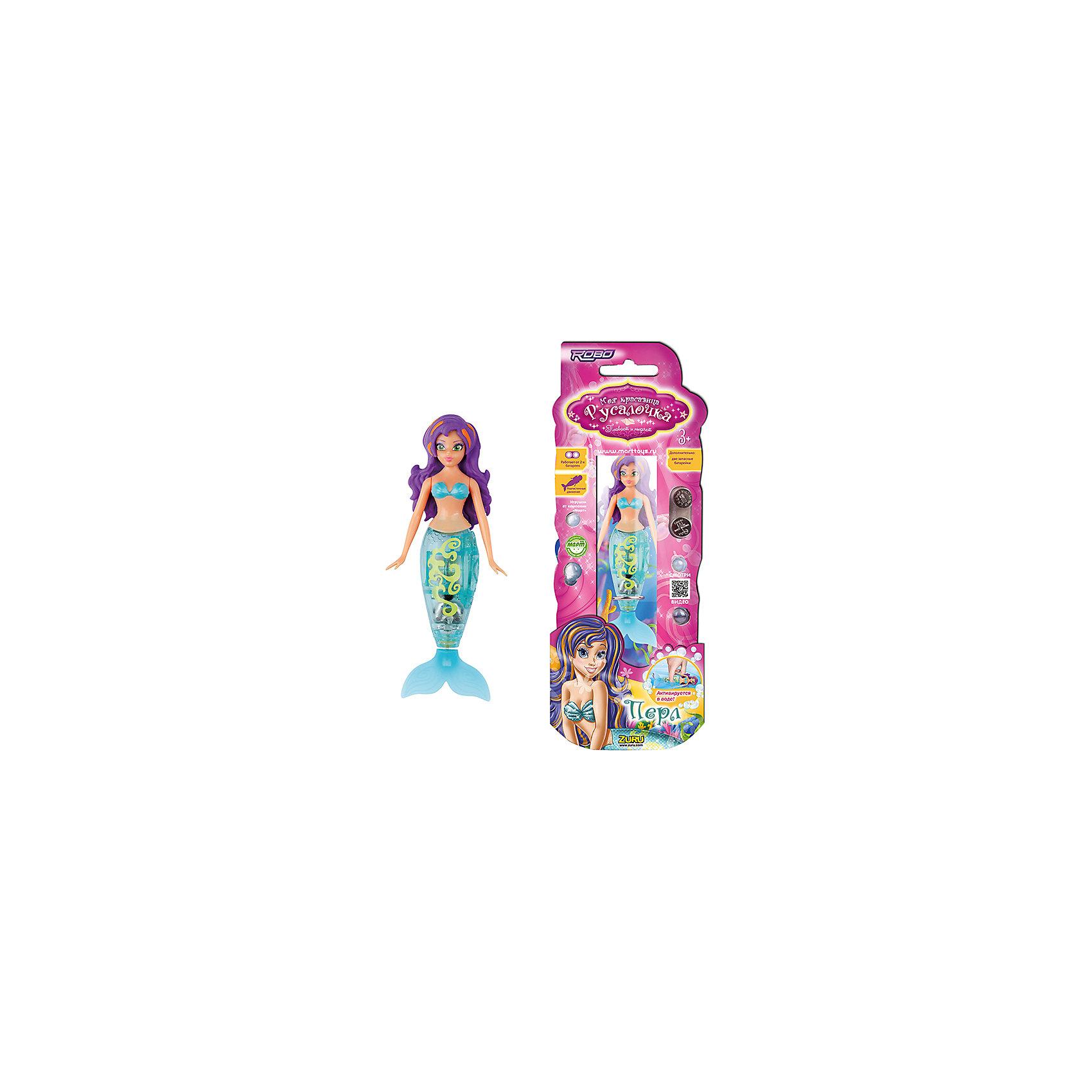 Кукла русалочка Перл, ZURUРоборыбки<br>Кукла русалочка  Перл, ZURU сама активируется в воде. Может плавать на спине по поверхности воды или вертикально вверх и вниз в глубине. Для того, чтобы русалка плавала под водой, нужно надеть ей на хвост кольцо-грузик.<br><br>Дополнительная информация:<br><br>- Высота Русалочки: 11,4 см<br>- В наборе 3 разных по весу кольца, с помощью которых регулируется глубина погружения Русалочки.<br>- Работает от 2 алкалиновых батареек А76 или RL44 (2 установлены в игрушку, 2 запасные входят в комплект)<br><br>Куклу русалочку  Перл, ZURU (Зуру) можно купить в нашем магазине.<br><br>Ширина мм: 820<br>Глубина мм: 430<br>Высота мм: 250<br>Вес г: 200<br>Возраст от месяцев: 36<br>Возраст до месяцев: 120<br>Пол: Женский<br>Возраст: Детский<br>SKU: 3879196