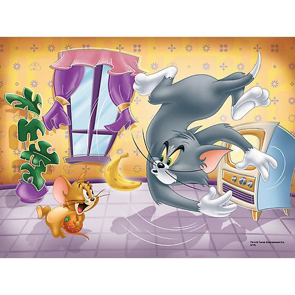 Пазл  Фруктовая битва, 30 деталей, Том и ДжерриПазлы для малышей<br>Пазл Фруктовая битва от Trefl  - увлекательный набор для творчества, который будет интересен детям всех возрастов и даже их родителям. С помощью входящих в набор деталей Вы сможете собрать красочную картинку с героями мультиков Том и Джерри - котом Томом и мышонком Джерри, которые как всегда устроили беспорядок в доме, играя фруктами. Пазл выполнен на каландрированной бумаге и отличается высоким качеством полиграфии и насыщенными цветами. <br> <br>Собирание пазла способствует развитию логического мышления, внимания, мелкой моторики и координации движений.<br><br>Дополнительная информация:<br><br>- Материал: картон. <br>- Размер собранной картинки: 20 x 27 см.<br>- Размер упаковки: 14,3 х 21,3 х 4 см.<br>- Вес: 150 гр.<br><br> Пазл Фруктовая битва, Trefl можно купить в нашем интернет-магазине.<br>Ширина мм: 216; Глубина мм: 144; Высота мм: 40; Вес г: 171; Возраст от месяцев: 48; Возраст до месяцев: 72; Пол: Унисекс; Возраст: Детский; Количество деталей: 30; SKU: 3879933;