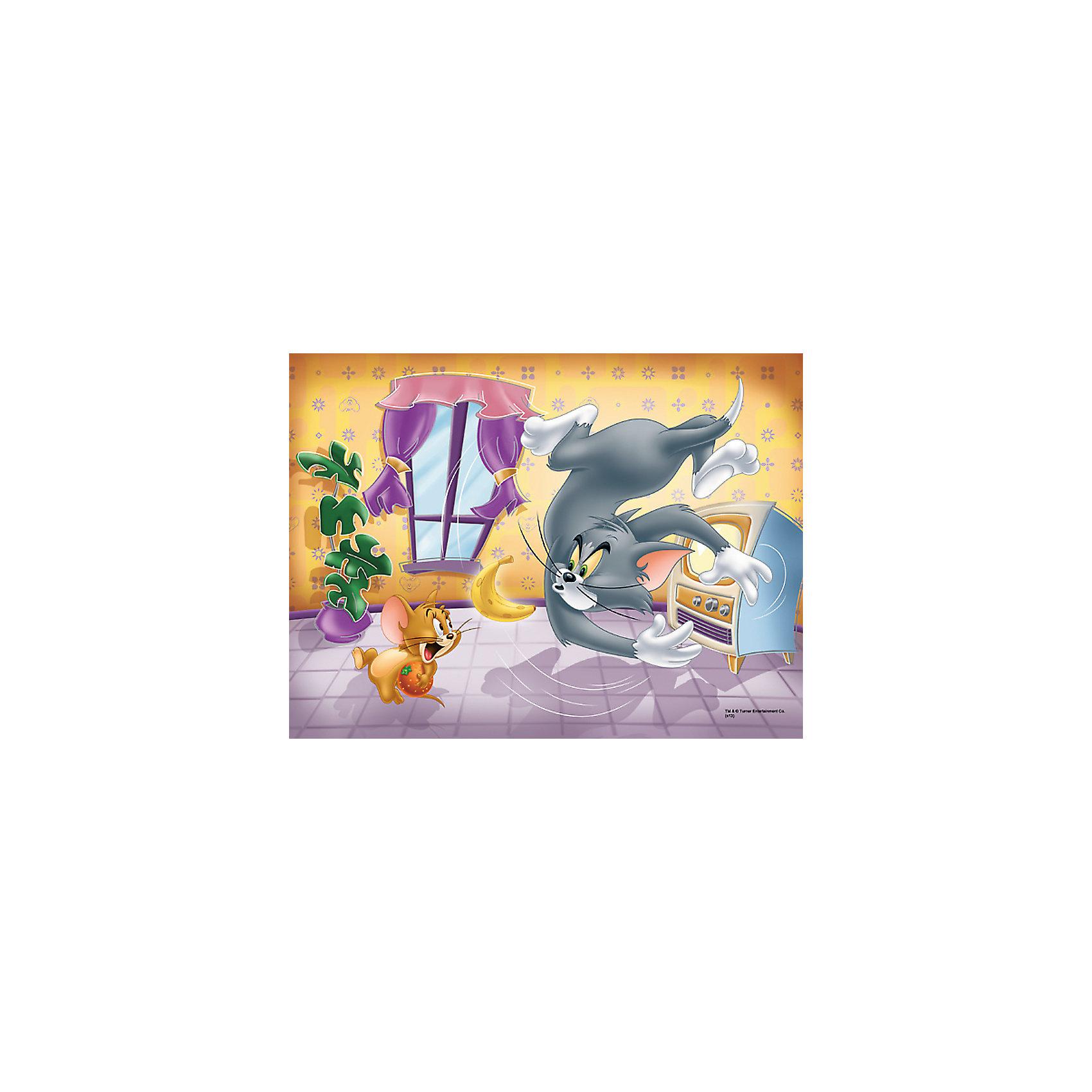 Пазл  Фруктовая битва, 30 деталей, Том и ДжерриПазлы для малышей<br>Пазл Фруктовая битва от Trefl  - увлекательный набор для творчества, который будет интересен детям всех возрастов и даже их родителям. С помощью входящих в набор деталей Вы сможете собрать красочную картинку с героями мультиков Том и Джерри - котом Томом и мышонком Джерри, которые как всегда устроили беспорядок в доме, играя фруктами. Пазл выполнен на каландрированной бумаге и отличается высоким качеством полиграфии и насыщенными цветами. <br> <br>Собирание пазла способствует развитию логического мышления, внимания, мелкой моторики и координации движений.<br><br>Дополнительная информация:<br><br>- Материал: картон. <br>- Размер собранной картинки: 20 x 27 см.<br>- Размер упаковки: 14,3 х 21,3 х 4 см.<br>- Вес: 150 гр.<br><br> Пазл Фруктовая битва, Trefl можно купить в нашем интернет-магазине.<br><br>Ширина мм: 216<br>Глубина мм: 144<br>Высота мм: 40<br>Вес г: 171<br>Возраст от месяцев: 48<br>Возраст до месяцев: 72<br>Пол: Унисекс<br>Возраст: Детский<br>Количество деталей: 30<br>SKU: 3879933
