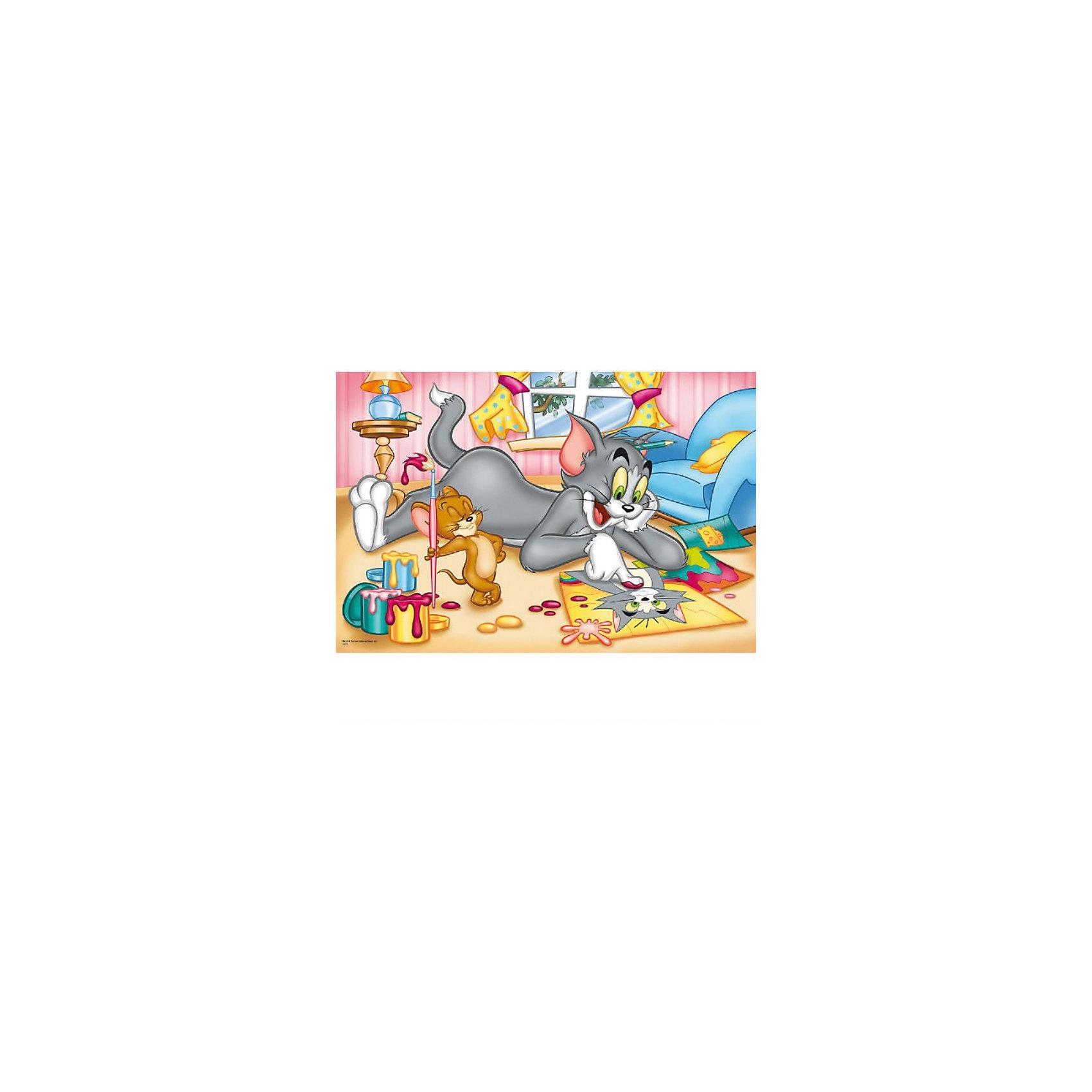 Пазл  Раскраски, 60 деталей, Том и ДжерриПазлы для малышей<br>Пазл Раскраски от Trefl  - увлекательный набор для творчества, который будет интересен детям всех возрастов и даже их родителям. С помощью входящих в набор деталей Вы сможете собрать красочную картинку с героями мультиков Том и Джерри - котом Томом и мышонком Джерри, которые  решили поиграть в художника и модель. Том любуется своим изображением на листочке, а Джерри держит в руках кисточку, которой рисовал кота. Пазл отличается высоким качеством полиграфии и насыщенными цветами. <br> <br>Собирание пазла способствует развитию логического мышления, внимания, мелкой моторики и координации движений.<br><br>Дополнительная информация:<br><br>- Материал: картон. <br>- Размер собранной картинки: 32 x 22 см.<br>- Размер упаковки: 26 х 4 х 39 см.<br>- Вес: 143 гр.<br> <br>Пазл Раскраски, Trefl можно купить в нашем интернет-магазине.<br><br>Ширина мм: 143<br>Глубина мм: 213<br>Высота мм: 40<br>Вес г: 200<br>Возраст от месяцев: 48<br>Возраст до месяцев: 72<br>Пол: Унисекс<br>Возраст: Детский<br>Количество деталей: 60<br>SKU: 3879936