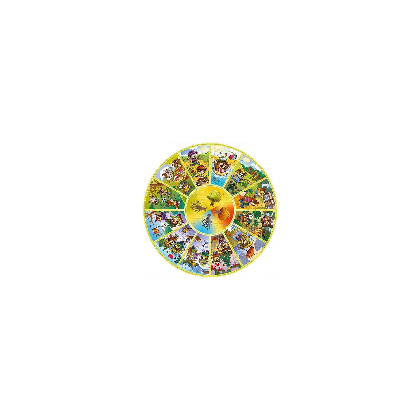 Пазл круглый Календарь, 24 детали, TreflКоличество деталей<br>Характеристики товара:<br><br>• возраст от 3 лет;<br>• материал: картон;<br>• в комплекте: 24 детали;<br>• размер упаковки 29х29х6 см;<br>• вес упаковки 820 гр.;<br>• страна производитель: Польша.<br><br>Пазл круглый «Календарь» Trefl позволит малышам выучить с его помощью времена года, месяцы, узнать все о погоде каждого времени года. Пазл разделен на 12 месяцев и 4 времени года. В каждой секции забавный медвежонок увлекается занятиями: купается в море, гуляет зимой в лесу.<br><br>Все элементы изготовлены из прочного картона со специальным стойким покрытием. Собирая пазл, у детей развиваются моторика рук, усидчивость, внимательность и мышление.<br><br>Пазл круглый «Календарь» Trefl можно приобрести в нашем интернет-магазине.<br><br>Ширина мм: 280<br>Глубина мм: 280<br>Высота мм: 62<br>Вес г: 660<br>Возраст от месяцев: 48<br>Возраст до месяцев: 96<br>Пол: Унисекс<br>Возраст: Детский<br>Количество деталей: 24<br>SKU: 3879937