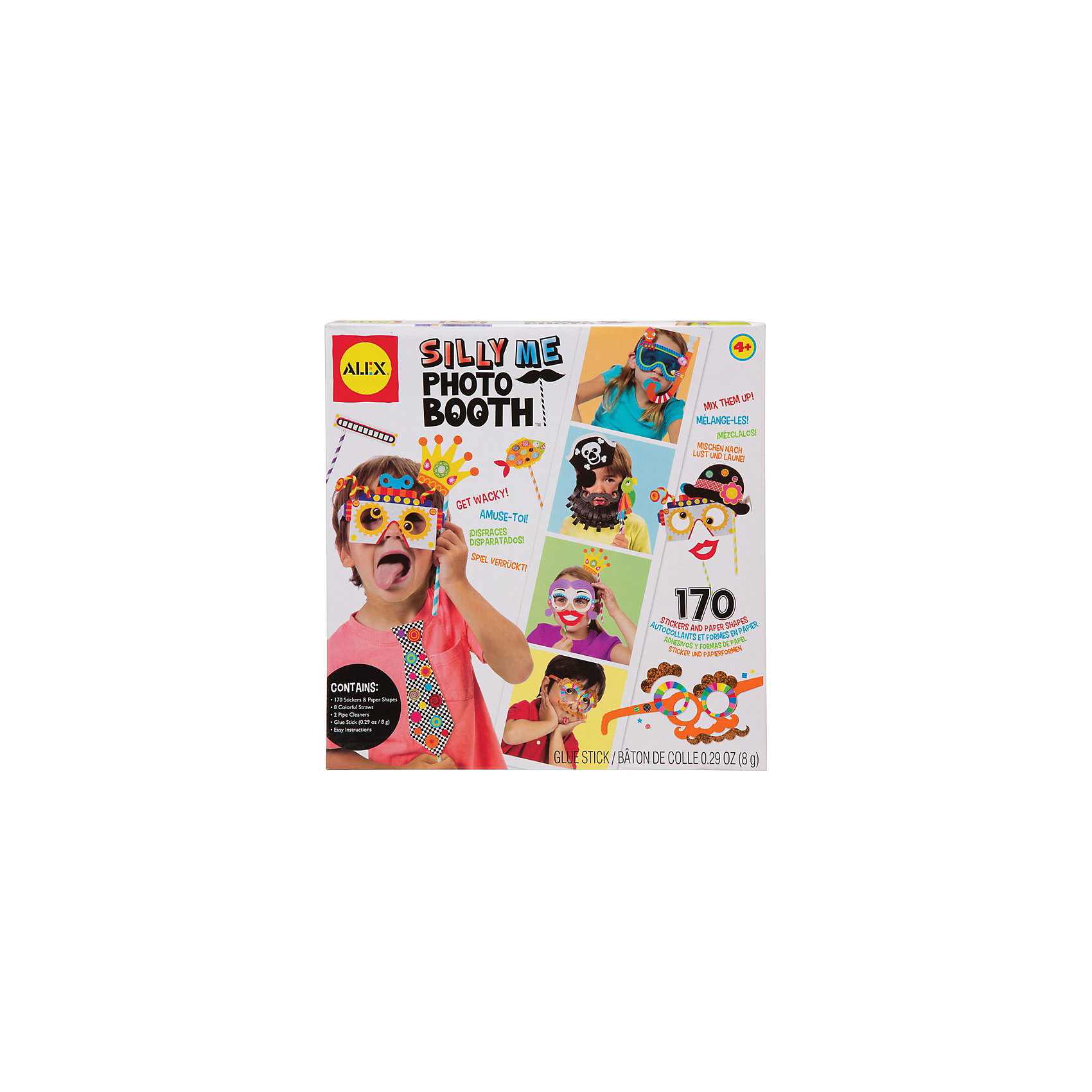 Набор для создания забавных масок Рассмеши меня, ALEXПопулярное  развлечение на детских праздниках - необычные фотосессии.  Создай 13 разных веселых маски  -  пирата, подводного пловца,  робота, усача и других  необычных персонажей и заставь всех друзей и взрослых рассмеяться.<br><br>Дополнительная информация:<br><br>В наборе - 104 стикера разных форм, 62  картонных шаблона, 8 цветных палочек, 8 пушистых проволочек, клей карандаш и простая инструкция в картинках.<br>Размер упаковки: 25 х 25 х 5 см<br><br>Набор для создания забавных масок Рассмеши меня, ALEX (Алекс) можно купить в нашем магазине.<br><br>Ширина мм: 250<br>Глубина мм: 250<br>Высота мм: 50<br>Вес г: 454<br>Возраст от месяцев: 48<br>Возраст до месяцев: 108<br>Пол: Мужской<br>Возраст: Детский<br>SKU: 3881485