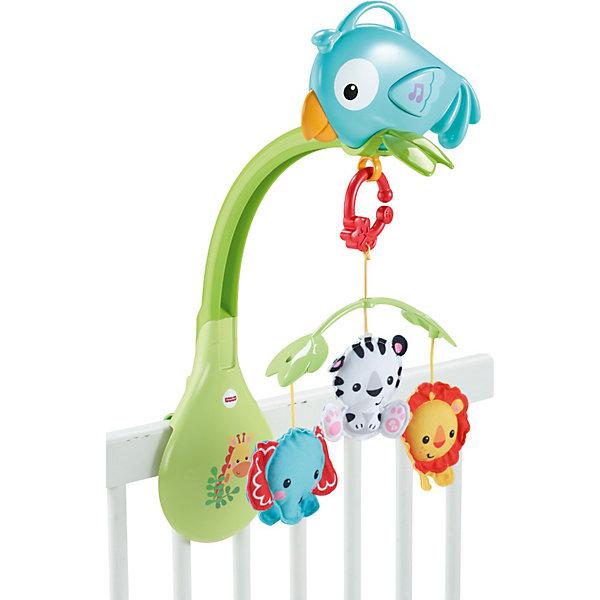 Мобиль 3 в 1 Друзья из тропического леса, Fisher-PriceМобили<br>Ваш кроха придет в восторг от мобиля 3 в 1 от Fisher-Price. Три цветные мягкие игрушки будут плавно крутиться, привлекая внимание малыша, а умиротворяющая музыка (длительность 20 минут) успокоит ребенка. Когда малыш подрастет, мобиль можно открепить от кроватки - он станет прекрасной развивающей игрушкой. Фигурки разной формы и цвета помогут развить мелкую моторику и цветовосприятие. Прикрепите любимые игрушки малыша из серии Друзья из тропического леса к навесу коляски для веселых игр в пути и используйте музыкальную птичку вне дома - чтобы малыш всегда мог играть с любимыми и хорошо знакомыми игрушками и слушать новую музыку. <br><br>Дополнительная информация:<br><br>- Материал: пластик, текстиль.<br>- Элемент питания: 3 АА (LR06) батарейки ( не входят в комплект).<br><br>Мобиль 3 в 1 Друзья из тропического леса, Fisher-Price (Фишер Прайс), можно купить в нашем магазине.<br>Ширина мм: 358; Глубина мм: 281; Высота мм: 73; Вес г: 798; Возраст от месяцев: 0; Возраст до месяцев: 24; Пол: Унисекс; Возраст: Детский; SKU: 3887485;