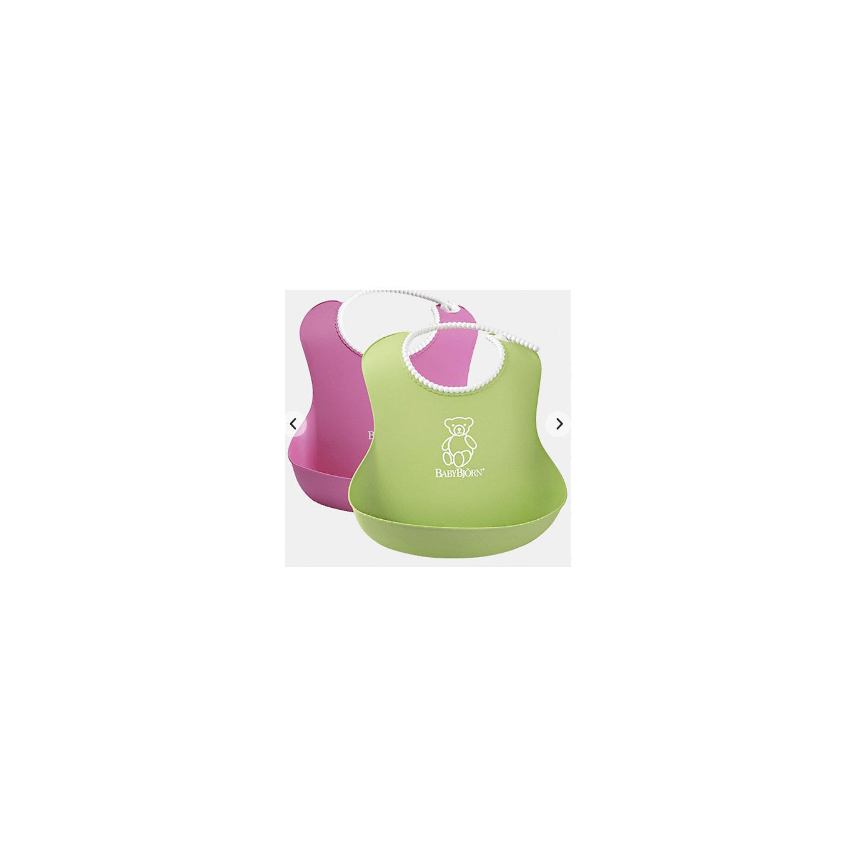 Комплект из 2-х нагрудников, BabyBjorn, розовый/зеленыйНагрудники и салфетки<br>Мягкие нагрудники с карманом BabyBjorn (БэйбиБьёрн) - функциональные и удобные нагрудники для активных детишек!<br>Мягкие нагрудники с карманом помогут провести процесс кормления ребенка в чистоте. Нагрудники имеют эргономичную форму и глубокий карман для улавливания пищи. Горловина нагрудников имеет мягкую поверхность и не царапает шею малыша, а замочек легко застегивается на нужную длину.<br><br>Дополнительная информация:<br><br>- регулируемая застёжка<br>- глубокий кармашек спереди<br>- можно мыть в посудомоечной машине<br>- материал: полипропилен (ПП) и термоэластопласт (ТЭП).<br>- Размер горловины: от 19 до 30 см<br><br>Комплект из 2-х нагрудников, BabyBjorn, розовый/зеленый можно купить в нашем магазине.<br><br>Ширина мм: 60<br>Глубина мм: 40<br>Высота мм: 215<br>Вес г: 149<br>Возраст от месяцев: 6<br>Возраст до месяцев: 36<br>Пол: Унисекс<br>Возраст: Детский<br>SKU: 3888124