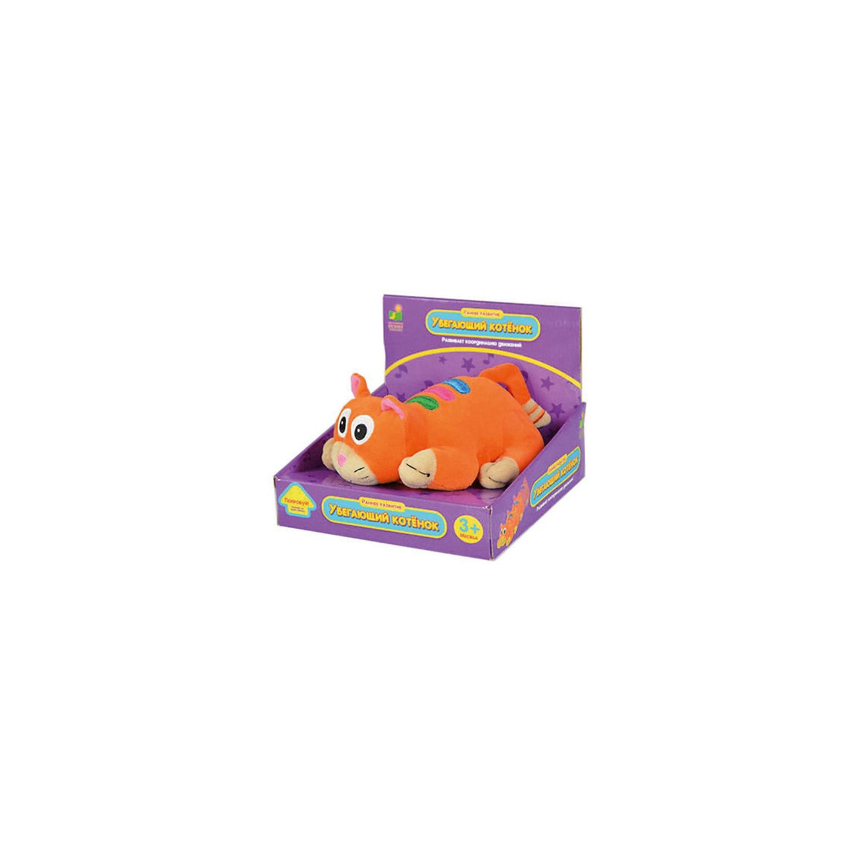 Убегающий котёнок, со звуком, 20 см,  The Learning JourneyУбегающий котенок, The Learning Journey - очаровательная мягкая игрушка, которая обязательно привлечет внимание Вашего малыша. Забавный котенок оранжевого цвета с разноцветными полосками на спинке выполнен из мягкого, приятного на ощупь материала. <br>У игрушки имеются звуковые эффекты: щенок проигрывает 12 веселых мелодий, что станет приятным сюрпризом для ребенка. Кроме того щенок может двигаться и убегать от малыша. Ползая за щеночком и пытаясь его догнать ребенок будет развивать мышцы рук и ног, а также свой слух.<br><br>Дополнительная информация:<br><br>- Требуются батарейки: 2 x AA / LR6 1.5V (пальчиковые) (входят в комплект).<br>- Материал: текстиль, пластик.<br>- Высота игрушки: 20 см.<br>- Размер упаковки: 19,5 x 15 x 19 см.<br>- Вес: 0,454 кг. <br><br>Игрушку Убегающий котёнок, со звуком, 20 см,  The Learning Journey можно купить в нашем интернет-магазине.<br><br>Ширина мм: 195<br>Глубина мм: 190<br>Высота мм: 150<br>Вес г: 454<br>Возраст от месяцев: 24<br>Возраст до месяцев: 72<br>Пол: Унисекс<br>Возраст: Детский<br>SKU: 3888894