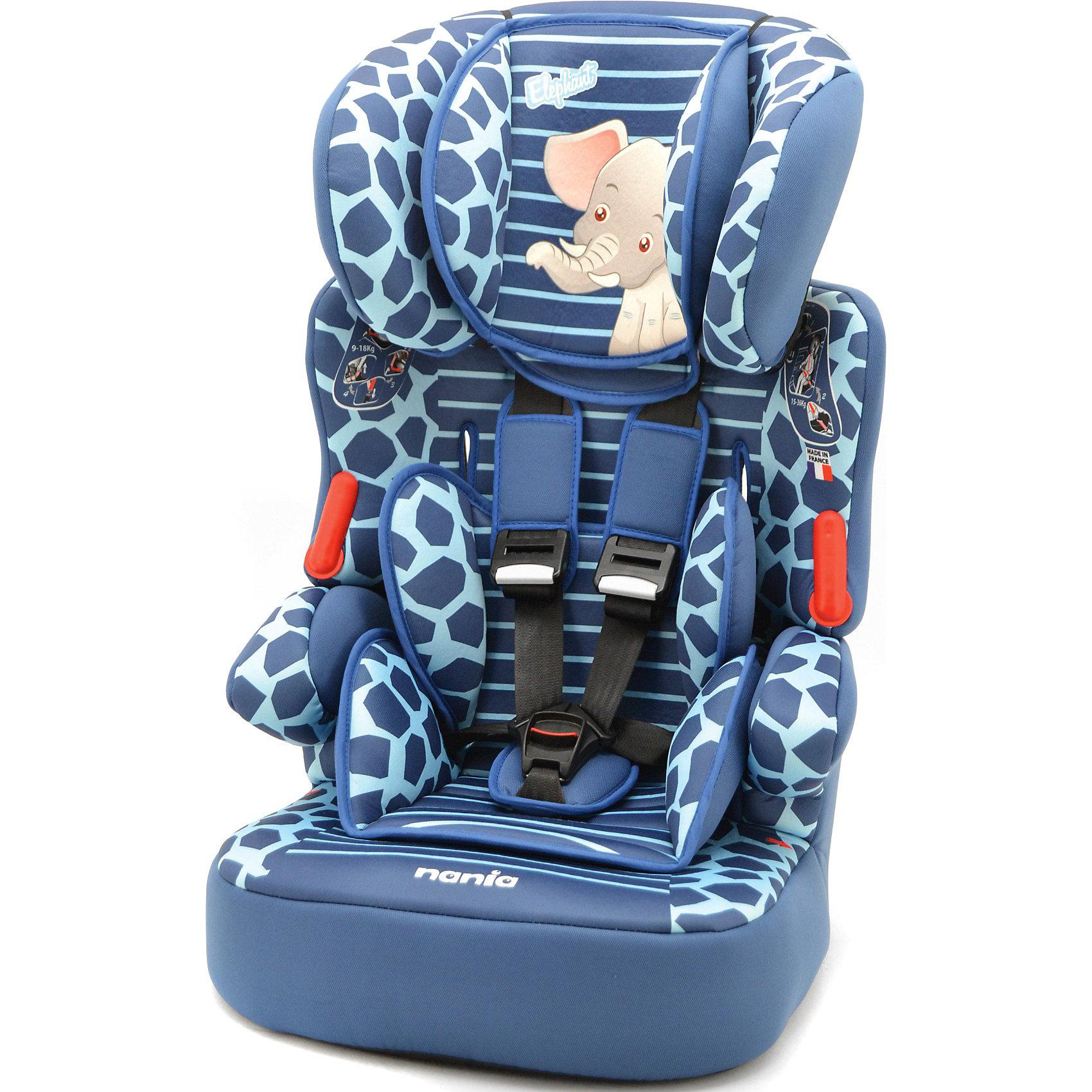 Автокресло Nania Beline SP, 9-36 кг, elephantГруппа 1-2-3 (От 9 до 36 кг)<br>Автокресло Beline SP, 9-36 кг., Nania, elephant - это комфортное и безопасное автокресло для детей от 8 месяцев до 12 лет.<br>Автокресло Beline SP, Nania (Нания) сочетает два кресла в одном. Оно предназначено для детей весом от 9 до 36 кг. (группа 1-2-3). Детское автокресло состоит из двух частей: сидение и съемная спинка. Благодаря регулируемой высоте подголовника (6 позиций) кресло растет вместе с ребенком. Анатомически правильно сформированное сидение с мягкой подкладкой, мягкий подголовник закругленной формы, удобные подлокотники обеспечивают комфорт маленького пассажира даже во время длительных путешествий. Автокресло Beline SP было разработано согласно самым жестким требованиям безопасности. Система боковой защиты SP – Side Protection убережёт ребёнка от серьезных травм во время бокового столкновения. Для надежной фиксации ребенка имеется регулируемый 5-точечный ремень безопасности с плечевыми накладками. Когда ребенок подрастет, спинку автокресла можно отстегнуть и использовать только бустер. Вы без труда закрепите кресло в салоне Вашего автомобиля с помощью штатных ремней безопасности. Если ребенок весит от 9 до 18 кг, нужно использовать фиксирующий зажим ремня безопасности, который прикреплен шнурком к спинке автокресла. Автокресло устанавливается по ходу движения автомобиля. Приятной особенностью этого автокресла является его яркий интересный дизайн – принт в виде пятнистой окраски и изображение милого слоненка на подголовнике. Все тканевые части легко снимаются и стираются, что позволит креслу выглядеть прекрасно долгие годы. Соответствует Европейскому Стандарту ЕСЕ R44/04.<br><br>Дополнительная информация:<br><br>- Группа 1-2-3 (9-36 кг), от 8 месяцев до 12 лет<br>- Размер: 45 х 45 х 72-88 см.<br>- Высота спинки: 64-75 см.<br>- Размер сиденья: 34 х 30 см.<br>- Вес: 4,7 кг.<br>- Материал: ударопрочный пластик, полиэстер<br>- Цвет: синий, голубой<br>- Стирка покрытия автокресла пр