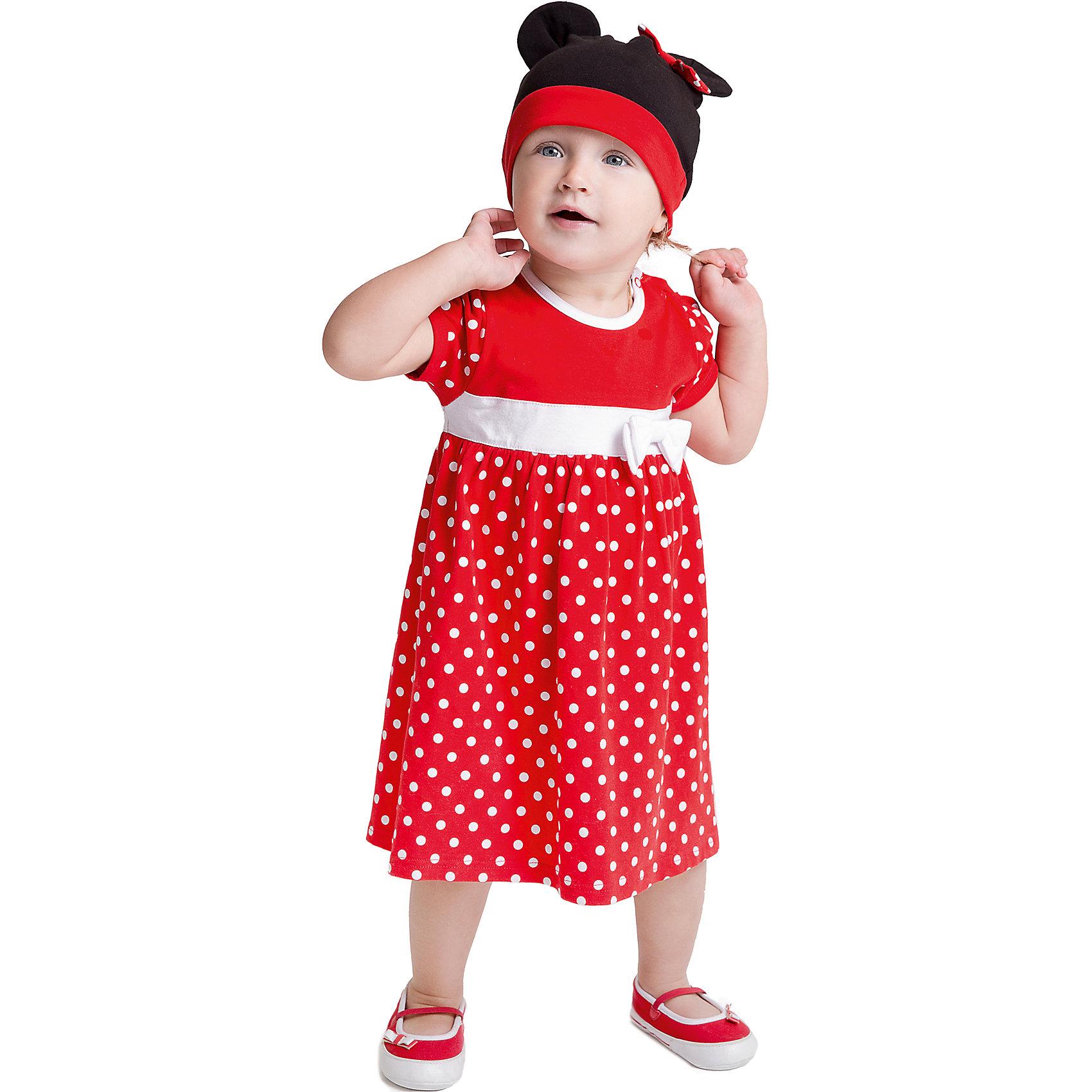 Комплект для девочки: боди и шапочка PlayTodayКомплект для девочки: боди и шапочка PlayToday. <br>Состав: 95% хлопок, 5% эластан <br><br>* Праздничный наряд для маленькой девочки - платьице-боди и шапочка с ушками Минни Мауса <br>* Актуальная расцветка в белый горошек <br>* Рукава- фонарики <br>* Платишко декорировано белым поясом с бантиком из атласной ленты <br>* Шапочка имеет контрастную окантовку и симпотичный бантик<br><br>Ширина мм: 157<br>Глубина мм: 13<br>Высота мм: 119<br>Вес г: 200<br>Цвет: красный<br>Возраст от месяцев: 12<br>Возраст до месяцев: 15<br>Пол: Женский<br>Возраст: Детский<br>Размер: 80,74<br>SKU: 3892795