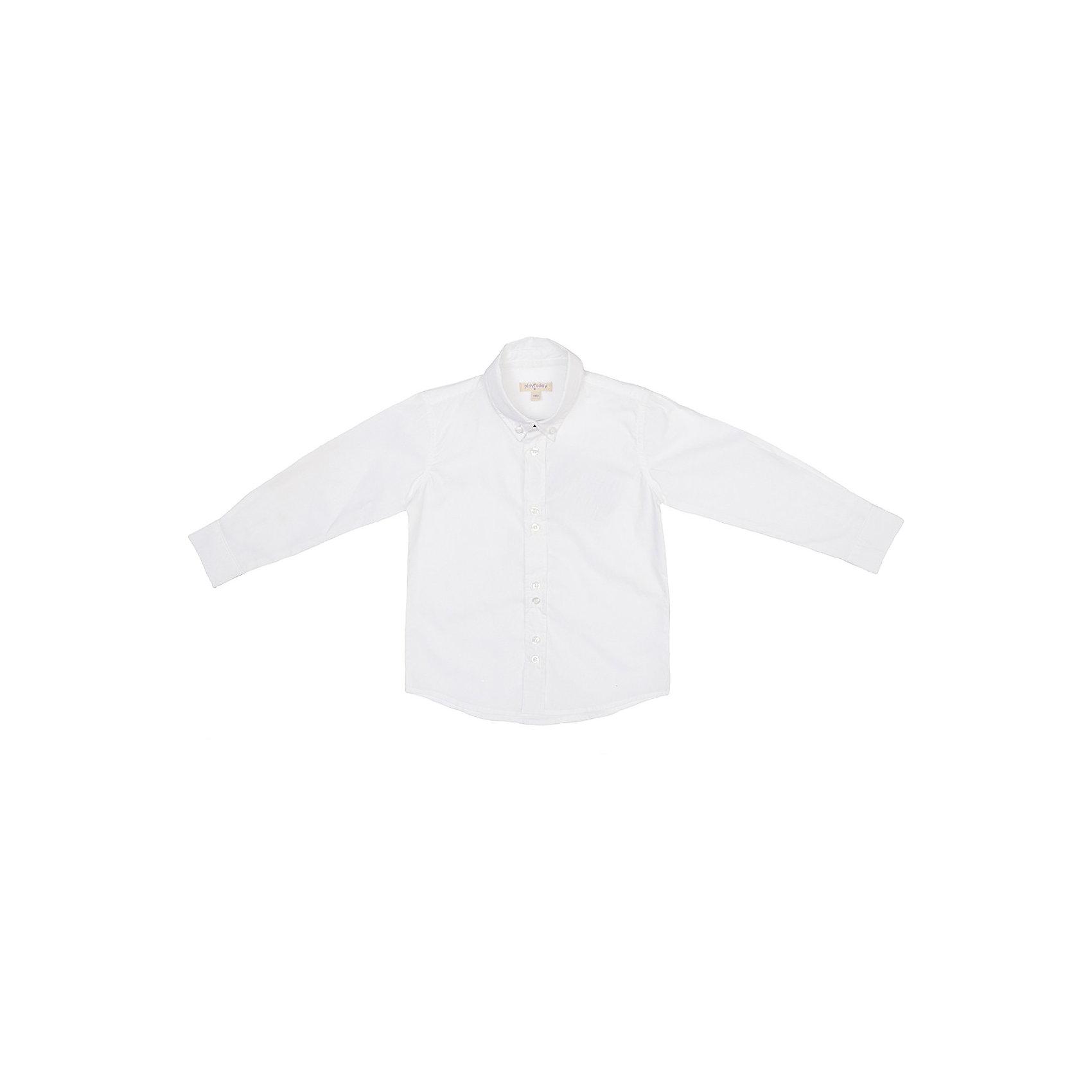 Рубашка для мальчика PlayTodayБлузки и рубашки<br>Рубашка для мальчика PlayToday. <br>Состав: 100% хлопок <br><br>* рубашка выполнена из натурального материала - необходимая вещь в ежедневном гардеробе<br>* рубашка с длинными рукавами, отложным воротничком классической формы и застежкой на пуговицы<br>* манжеты классической формы с застежкой на пуговицы<br><br>Ширина мм: 174<br>Глубина мм: 10<br>Высота мм: 169<br>Вес г: 157<br>Цвет: белый<br>Возраст от месяцев: 108<br>Возраст до месяцев: 120<br>Пол: Мужской<br>Возраст: Детский<br>Размер: 140,122,116,128,134,98,104,110<br>SKU: 3892821