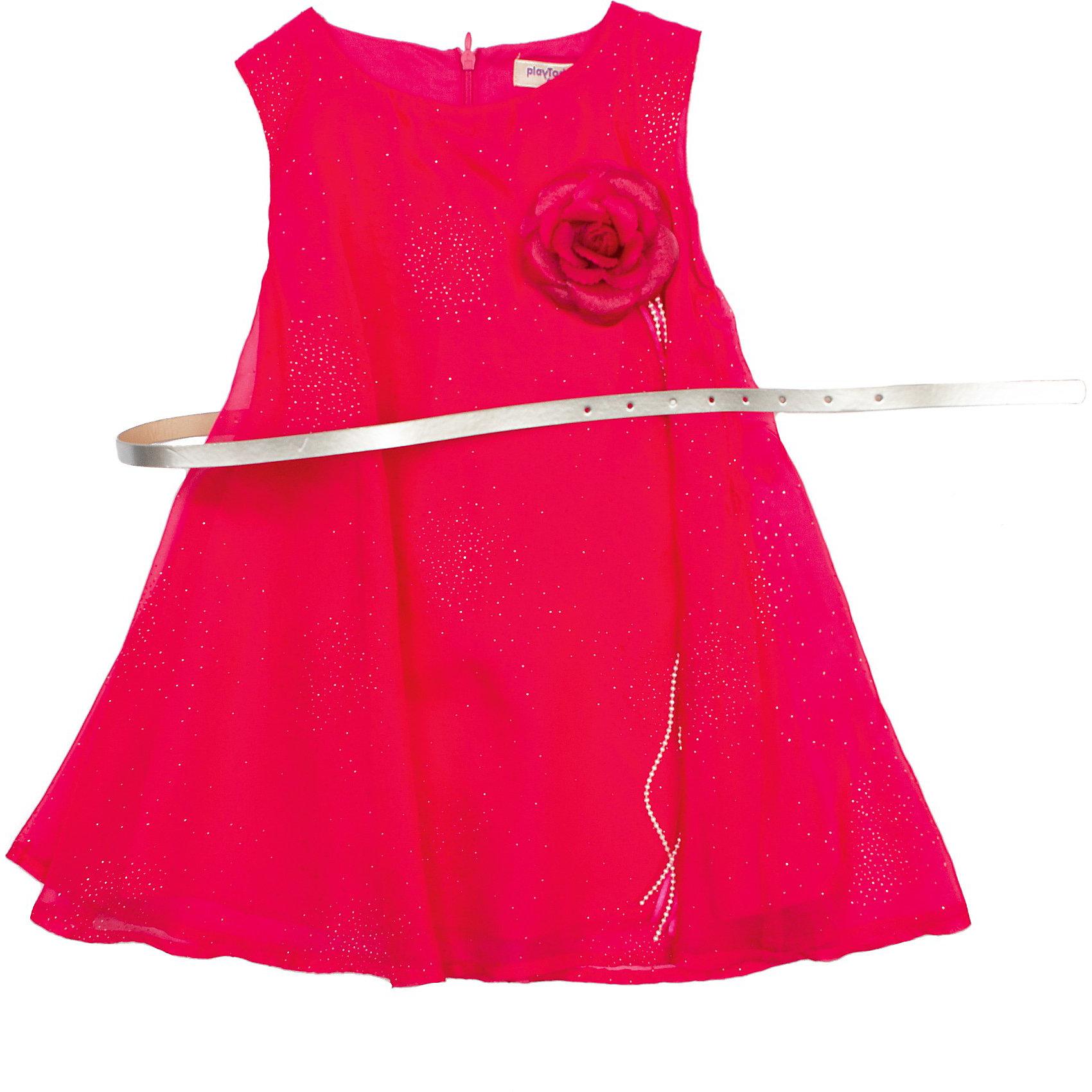 Нарядное платье PlayTodayОдежда<br>Платье PlayToday. <br>Состав: верх: 100% полиэстер, подкладка: 100% хлопок <br><br>*элегантное платье из шифона <br>*силуэт - трапеция <br>*застежка - потайная молния  <br>*декорировано серебритсым напылением в виде брызг <br>*в комплекте декоративная съемная брошь - цветок <br>*в комплекте пояс цвета металлик<br><br>Ширина мм: 236<br>Глубина мм: 16<br>Высота мм: 184<br>Вес г: 177<br>Цвет: розовый<br>Возраст от месяцев: 24<br>Возраст до месяцев: 36<br>Пол: Женский<br>Возраст: Детский<br>Размер: 98,104,116,122,110,128<br>SKU: 3892894