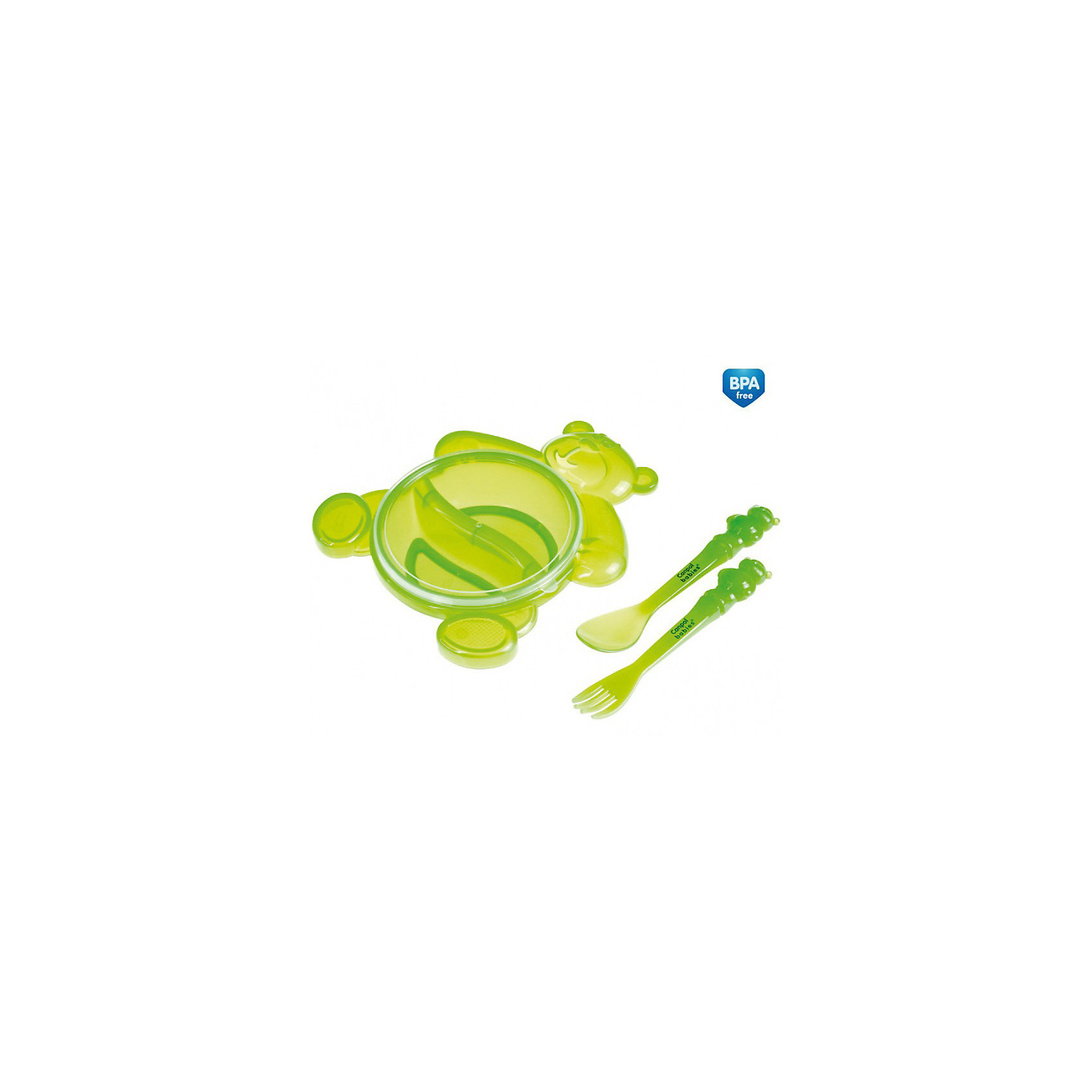Тарелка с ложкой и вилкой, Canpol Babies, зеленыйТарелка с ложкой и вилкой Сanpol Babies красивая и качественная посуда, разработана специально для самых маленьких! <br>Удобная, небьющаяся тарелка с двумя отделениями в форме медвежонка делает кормление малыша более увлекательным и интересным. Практичная крышка не позволит пище остынуть или пролиться. Специальное антискользящее дно закрепляет тарелку на столе, когда ребенок начинает кушать самостоятельно. <br>В комплект входят ложка и вилка с закругленными краями, разработанные специально для нежных десен малыша. <br>Посуда не содержит бисфенол А и безопасна для малыша!<br>Дополнительная информация:<br>- Размеры: 24 х 18,5 х 6 см.<br>- Вес: 174 г.<br>- Материал: пластик.<br>Тарелку с ложкой и вилкой Сanpol Babies можно купить в нашем интернет-магазине.<br>.<br><br>Ширина мм: 60<br>Глубина мм: 240<br>Высота мм: 185<br>Вес г: 174<br>Возраст от месяцев: 6<br>Возраст до месяцев: 36<br>Пол: Унисекс<br>Возраст: Детский<br>SKU: 3893830