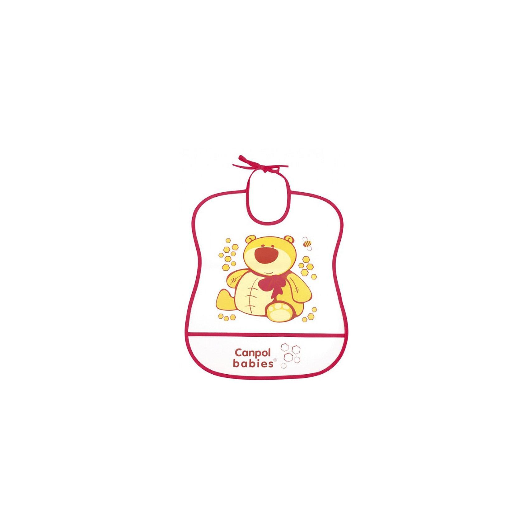 Пластмассовый мягкий нагрудник Медвежонок, Canpol BabiesПластмассовый мягкий нагрудник от Canpol  Babies поможет защитить одежду ребенка во время кормления. Имеется карман, в который будут попадать упавшие кусочки пищи. Нагрудник легко моется горячей водой с мылом. <br>Дополнительная информация:<br>- Материал: ПЭВА пленка.<br>- Размер упаковки: 35,5 х 20 х 0,3 см.<br>- Вес: 31,7 гр.<br>Пластмассовый мягкий нагрудник, Canpol Babies можно купить в нашем интернет-магазине.<br><br>Ширина мм: 355<br>Глубина мм: 200<br>Высота мм: 3<br>Вес г: 32<br>Возраст от месяцев: 0<br>Возраст до месяцев: 36<br>Пол: Унисекс<br>Возраст: Детский<br>SKU: 3893860