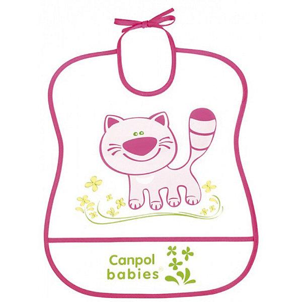 Пластмассовый мягкий нагрудник Котёнок, Canpol BabiesНагрудники и салфетки<br>Пластмассовый мягкий нагрудник от Canpol  Babies поможет защитить одежду ребенка во время кормления. Имеется карман, в который будут попадать упавшие кусочки пищи. Нагрудник легко моется горячей водой с мылом. <br>Дополнительная информация:<br>- Материал: ПЭВА пленка.<br>- Размер упаковки: 35,5 х 20 х 0,3 см.<br>- Вес: 31,7 гр.<br>Пластмассовый мягкий нагрудник, Canpol Babies можно купить в нашем интернет-магазине.<br><br>Ширина мм: 355<br>Глубина мм: 200<br>Высота мм: 3<br>Вес г: 32<br>Возраст от месяцев: 0<br>Возраст до месяцев: 36<br>Пол: Женский<br>Возраст: Детский<br>SKU: 3893862