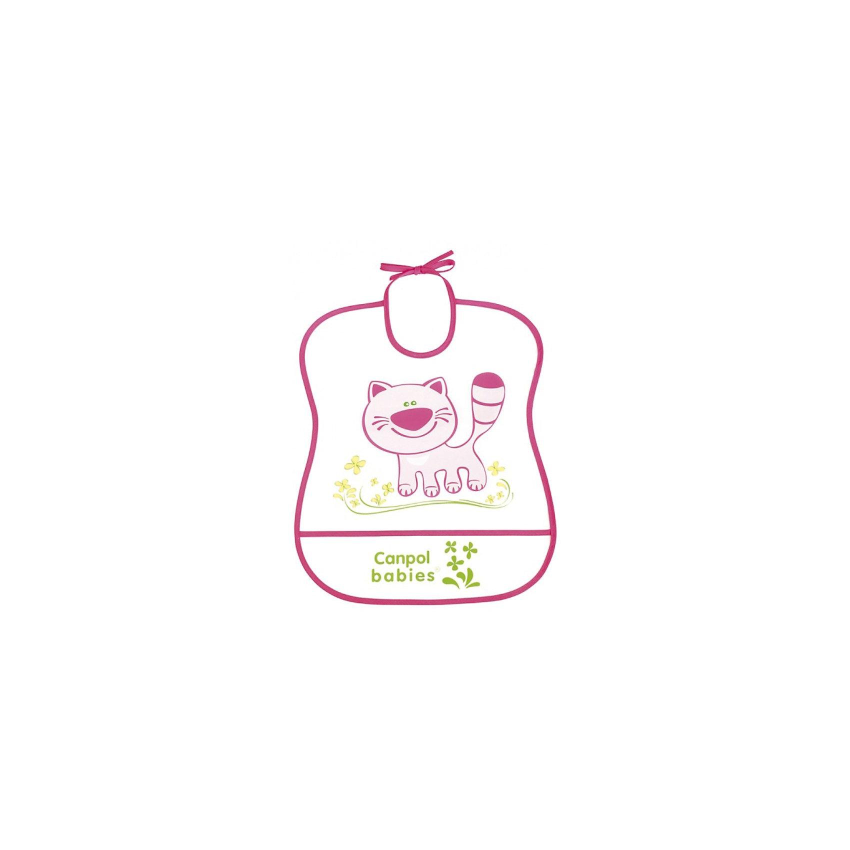 Пластмассовый мягкий нагрудник Котёнок, Canpol BabiesПластмассовый мягкий нагрудник от Canpol  Babies поможет защитить одежду ребенка во время кормления. Имеется карман, в который будут попадать упавшие кусочки пищи. Нагрудник легко моется горячей водой с мылом. <br>Дополнительная информация:<br>- Материал: ПЭВА пленка.<br>- Размер упаковки: 35,5 х 20 х 0,3 см.<br>- Вес: 31,7 гр.<br>Пластмассовый мягкий нагрудник, Canpol Babies можно купить в нашем интернет-магазине.<br><br>Ширина мм: 355<br>Глубина мм: 200<br>Высота мм: 3<br>Вес г: 32<br>Возраст от месяцев: 0<br>Возраст до месяцев: 36<br>Пол: Женский<br>Возраст: Детский<br>SKU: 3893862