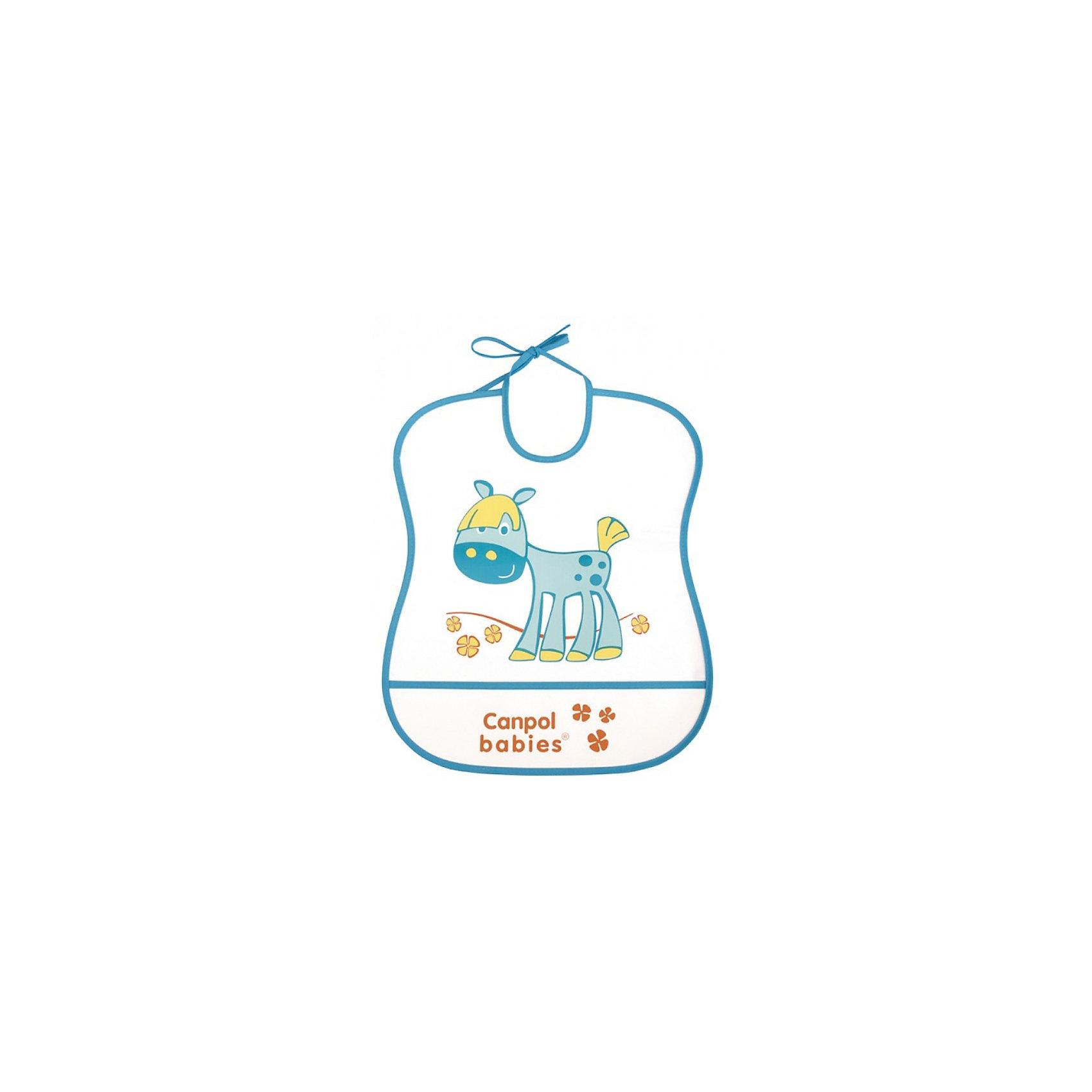 Пластмассовый мягкий нагрудник Лошадка, Canpol BabiesНагрудники и салфетки<br>Пластмассовый мягкий нагрудник от Canpol  Babies поможет защитить одежду ребенка во время кормления. Имеется карман, в который будут попадать упавшие кусочки пищи. Нагрудник легко моется горячей водой с мылом. <br>Дополнительная информация:<br>- Материал: ПЭВА пленка.<br>- Размер упаковки: 35,5 х 20 х 0,3 см.<br>- Вес: 31,7 гр.<br>Пластмассовый мягкий нагрудник, Canpol Babies можно купить в нашем интернет-магазине.<br><br>Ширина мм: 355<br>Глубина мм: 200<br>Высота мм: 3<br>Вес г: 32<br>Возраст от месяцев: 0<br>Возраст до месяцев: 36<br>Пол: Унисекс<br>Возраст: Детский<br>SKU: 3893863
