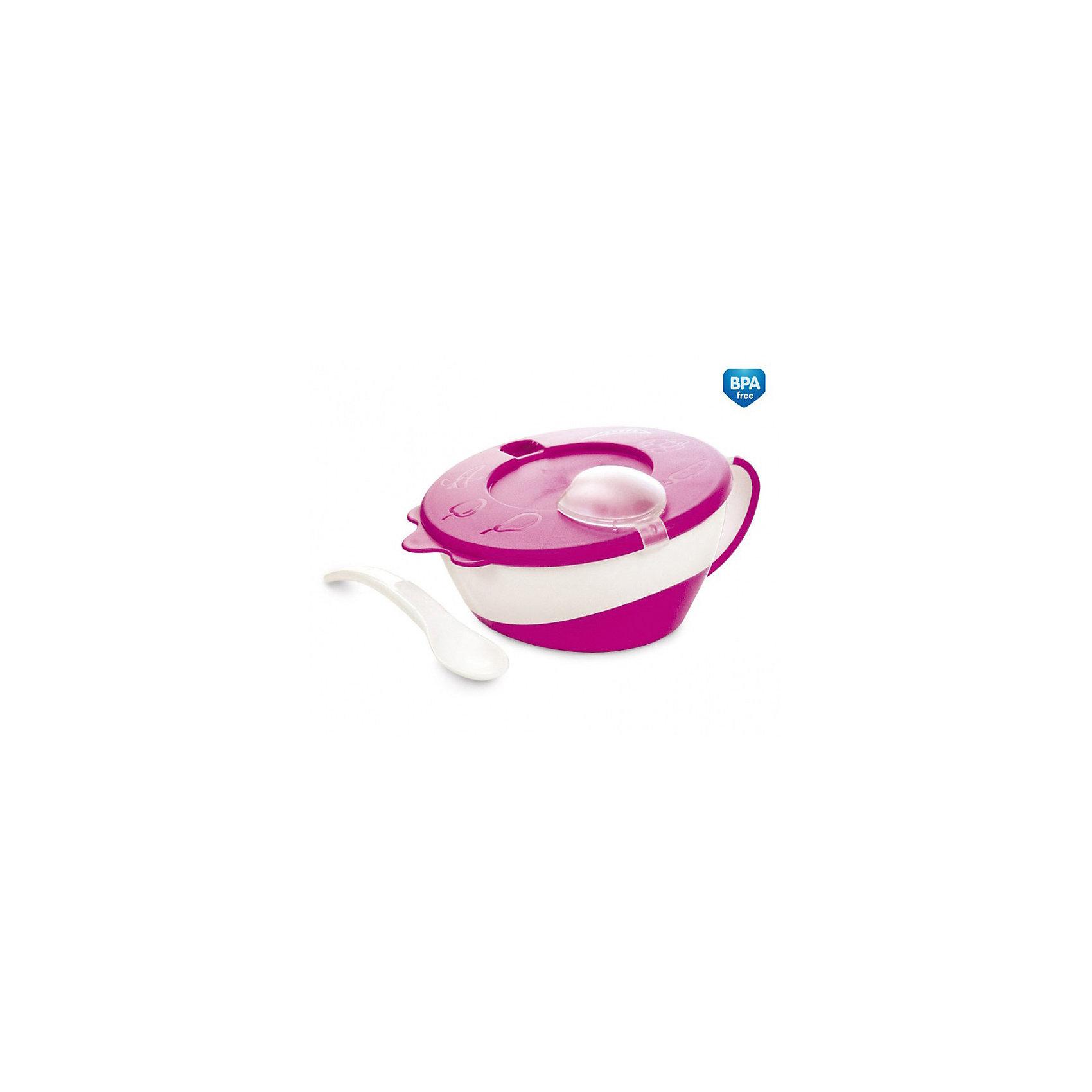 Canpol Babies Мисочка с ложкой и крышкой, Canpol Babies, розовый цена и фото