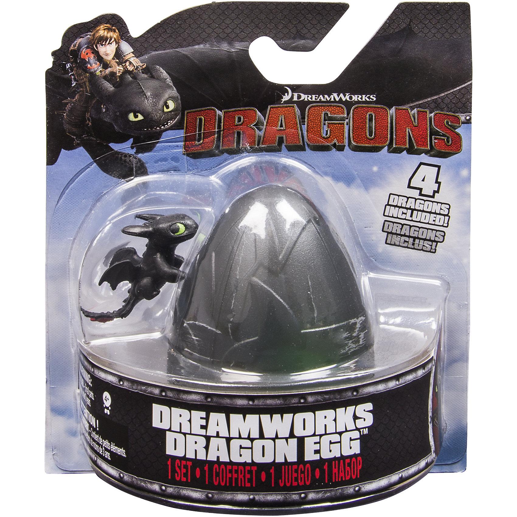4 дракона в пластмассовом яйце, DragonsКоллекционные и игровые фигурки<br>4 дракона в пластмассовом яйце, Dragons (Драконы), в ассортименте по мотивам мультфильма «Как приручить дракона» не оставит равнодушным ни одного ребенка! Под скорлупой яйца ты можешь обнаружить миниатюрные фигурки Беззубика, Громгильду, Громмеля Сардельку, Кривоклыка и других любимых персонажей. Яйцо можно открывать и закрывать.<br><br>Комплектация: яйцо, 4 разных дракончика<br><br>Дополнительная информация:<br>-Серия: Как приручить дракона<br>-Материалы: пластик<br>-Размеры в упаковке: 16х7х14 см<br>-Вес в упаковке: 200 г<br>-Размер фигурок: около 2 см<br>-В ассортименте: 6 наборов с черным, фиолетовым, серым, темно-зеленым, светло-красным и голубым яйцом (Заранее выбрать невозможно, при заказе нескольких возможно получение одинаковых)<br><br>Собери всю разноцветную компанию драконов и играй вместе с друзьями!<br><br>4 дракона в пластмассовом яйце, Dragons (Драконы), в ассортименте можно купить в нашем магазине.<br><br>Ширина мм: 160<br>Глубина мм: 142<br>Высота мм: 68<br>Вес г: 65<br>Возраст от месяцев: 36<br>Возраст до месяцев: 96<br>Пол: Мужской<br>Возраст: Детский<br>SKU: 3894433