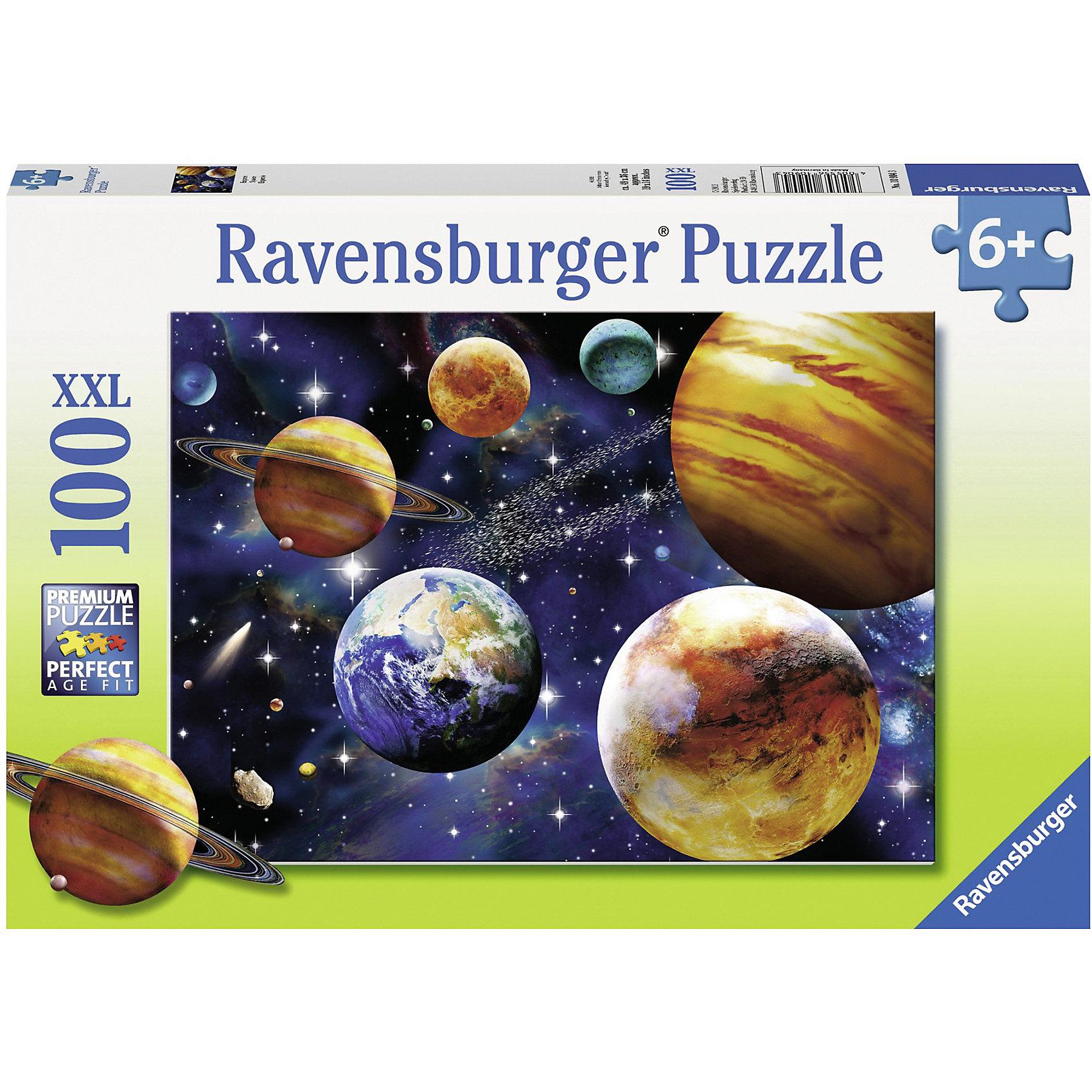 Пазл «Парад планет»XXL 100 деталей, RavensburgerПазлы для малышей<br>Пазл «Парад планет»XXL 100 деталей, Ravensburger (Равенсбургер) – увлекательное времяпрепровождение для Вашего ребенка!<br>Пазл Ravensburger Парад планет, без сомнения, придется по душе вашему ребенку. Собрав этот пазл, он получит великолепную картину с изображением планет. Собирая картинку, ребенок развивает логическое мышление, воображение, мелкую моторику и умение принимать самостоятельные решения. Пазлы Ravensburger неповторимы и уникальны тем, что для их изготовления используется картон наивысшего класса, благодаря которому сложенные головоломки не сгибаются, сам картон не отделяется от картинки, а сложенная картинка представляется абсолютно плоской и не деформируется даже спустя время. Прочные детали не ломаются. Каждая деталь имеет свою форму и подходит только на своё место. Матовая поверхность исключает неприятные отблески. Изготовлено из экологического сырья.<br><br>Дополнительная информация:<br><br>- Количество деталей: 100<br>- Размер картинки: 36х49 см.<br>- Материал: прочный картон<br>- Размер коробки: 34 x 4 x 23 см.<br><br>Пазл «Парад планет»XXL 100 деталей, Ravensburger (Равенсбургер) можно купить в нашем интернет-магазине.<br><br>Ширина мм: 340<br>Глубина мм: 40<br>Высота мм: 230<br>Вес г: 567<br>Возраст от месяцев: 72<br>Возраст до месяцев: 144<br>Пол: Унисекс<br>Возраст: Детский<br>Количество деталей: 100<br>SKU: 3894980