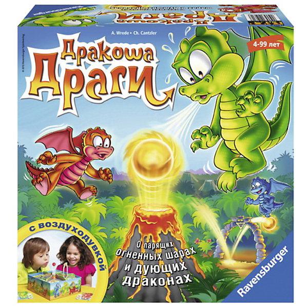 Игра  Дракоша Драги, RavensburgerНастольные игры на ловкость<br>Игра  Дракоша Драги, Ravensburger (Равенсбургер) – это яркая красочная настольная игра.<br>Маленькие драконы мечтают научиться извергать огонь как взрослые драконы! Для этого им необходимо кушать необыкновенно вкусные огненно-острые фрукты драконов! Не долго думая, дракоша Драги со своими друзьями устраивают на вулкане соревнования! Кому удается ловко и точно направить парящий огненный шар в правильный сектор вулкана, может собирать фрукты драконов! В центре поля расположен вулкан, склоны которого делят поле на шесть частей. Под полем расположен воздушный насос, который при включении образует струю воздуха над жерлом вулкана, на этой струе и держится огненный шарик. Каждый игрок получает индивидуальную карточку-задание и шесть фруктов своего цвета. Затем каждый игрок кладет по одному фрукту своего цвета на каждом участке игрового поля. Чтобы начать игру, кто-то включает воздушную струю, затем ставит на нее «огненный шар». Получается, что мячик летает в центре доски, над вулканом. Игрок, чья очередь, пытается сдуть мяч на ту часть доски, где еще есть фрукты его цвета. Если мяч попадает в нужную часть, то ребенок берет свой фрукт с этой части и помещает его на свою карточку-задание. Дальше ходит следующий игрок. Если мяч не попал на нужную часть, ход переходит к следующему игроку. Победителем в игре Дракоша Драги становится тот, кто первым соберет свои шесть фруктов.<br><br>Дополнительная информация:<br><br>- В комплекте: 1 воздуходувка, 1 игровое поле, 6 перегородок, 2 препятствия, 4 карточки в виде драконов, 24 фишки с фруктами драконов, правила игры<br>- Для игры необходимо 4 батарейки АА (не входят в комплект)<br>- Количество игроков: от 2 до 4 человек<br>- Время игры: примерно 15 минут<br>- Материал: пластик, картон<br>- Размер коробки: 27 х 11 х 27 см.<br><br>Игру  Дракоша Драги, Ravensburger (Равенсбургер) можно купить в нашем интернет-магазине.<br><br>Ширина мм: 270<br>Глубина мм: 110<br>Высота мм