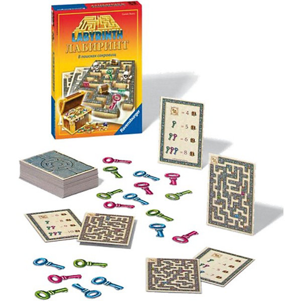 Игра  Лабиринт. В поисках сокровищ, RavensburgerКарточные настольные игры<br>Игра  Лабиринт. В поисках сокровищ, Ravensburger (Равенсбургер) – эта настольная заинтересует как детей, так и взрослых!<br>Яркая и красочная настольная игра Лабиринт В поисках сокровищ – это стремительная игра для всей семьи! Распутайте клубок ходов лабиринта, найдите сокровища и станьте победителем. Карта лабиринта открывается, и взгляды игроков одновременно устремляются в путаницу ходов. Сколько сундуков с сокровищами здесь можно найти? И кто назовет первым правильное число? Торопитесь!<br><br>Дополнительная информация:<br><br>- В комплекте: 35 карт лабиринта, 1 карточка-заслонка, 18 ключей<br>- Количество игроков: от 2 до 6 человек<br>- Время игры: 30 минут<br>- Материал: пластик, картон<br>- Размер коробки: 17 х 5 х 23 см.<br><br>Игру Лабиринт. В поисках сокровищ, Ravensburger (Равенсбургер) можно купить в нашем интернет-магазине.<br>Ширина мм: 170; Глубина мм: 50; Высота мм: 230; Вес г: 625; Возраст от месяцев: 60; Возраст до месяцев: 144; Пол: Унисекс; Возраст: Детский; SKU: 3894988;
