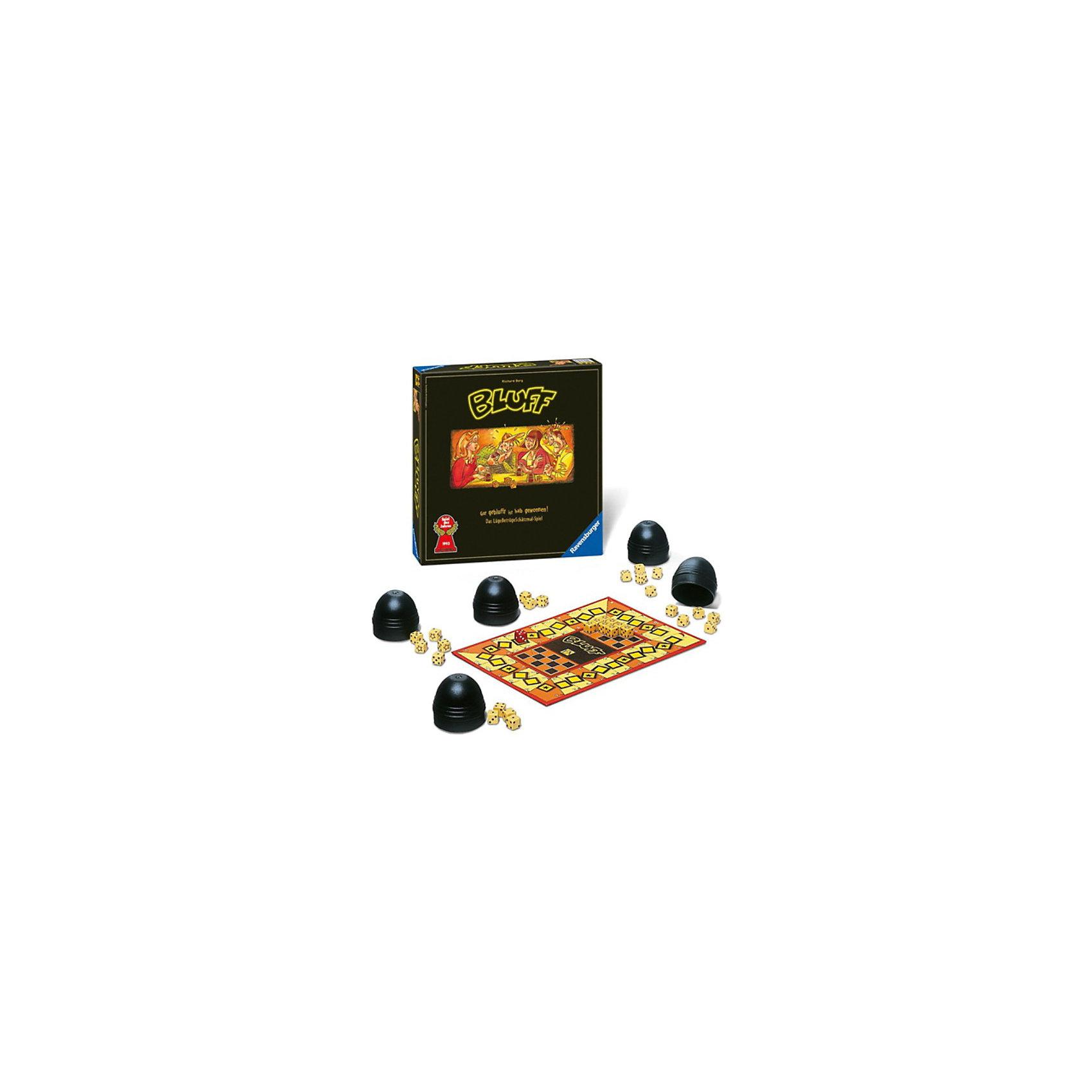 Игра  Блеф, RavensburgerИгра  Блеф, Ravensburger (Равенсбургер) – эта настольная заинтересует как детей, так и взрослых!<br>Игра  Блеф – веселая и очень азартная игра для компании друзей. В ней нужно бросать кубики и делать ставки, ставя их на кон. Выигрывает тот, кому удастся сохранить максимальное количество кубиков. Для этого понадобится удача, умение анализировать и блефовать. У каждого игрока на руках по пять кубиков – костей. Каждый раунд игроки их перемешивают в плошках и высыпают на стол. О том, что выпало в плошке, должен знать только ее хозяин. Когда каждый игрок увидел свои кости, можно делать ставки: предполагать, сколько кубиков с одинаковым числом выпало в этом раунде. Первому игроку приходиться ориентироваться только на свои кубики, а всем остальным еще и на заявления уже сделавших ставку игроков. Каждый игрок может или принять и поднять ставку предыдущего игрока или отказаться от нее. Если ставка принята, можно делать свое предложение. Если не принята, все кубики открываются и подсчитываются. Игра «Блеф» будет отличным развлечением, как в молодежной компании, так и в простой семейной обстановке. Азартная и веселая игра поднимет настроение и увлечет надолго.<br><br>Дополнительная информация:<br><br>- В комплекте: игровое поле, 5 колпачков для кубиков, 30 желтых кубиков, 1 красный кубик для торгов, инструкция<br>- Количество игроков: от 3 до 5 человек<br>- Время игры: 15 минут<br>- Материал: пластик, картон<br>- Размер коробки: 30 x 30 x 7 см.<br><br>Игру Блеф, Ravensburger (Равенсбургер) можно купить в нашем интернет-магазине.<br><br>Ширина мм: 300<br>Глубина мм: 70<br>Высота мм: 300<br>Вес г: 0<br>Возраст от месяцев: 72<br>Возраст до месяцев: 216<br>Пол: Унисекс<br>Возраст: Детский<br>SKU: 3894990