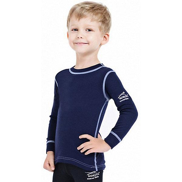 Футболка с длинным рукавом для мальчика NorvegКофточки и распашонки<br>Футболка с длинным рукавом от известного бренда Norveg<br><br>Термофутболка Norveg Soft Shirt от немецкой компании Norveg (Норвег) - это удобная и красивая одежда, которая обеспечит комфортную терморегуляцию тела и на улице, и в помещении. <br>Она сделана из шерсти мериноса (австралийской тонкорунной овцы), которая обладает гипоаллергенными свойствами, поэтому не вызывает раздражения, даже если надета на голое тело.<br><br>Отличительные особенности модели:<br><br>- цвет: синий;<br>- швы плоские, не натирают и не мешают движению;<br>- анатомические резинки;<br>- материал впитывает влагу и сразу выводит наружу;<br>- анатомический крой;<br>- подходит и мальчикам, и девочкам;<br>- не мешает под одеждой.<br><br>Дополнительная информация:<br><br>- Температурный режим: от - 20° С  до +20° С.<br><br>- Состав: 100% шерсть мериноса<br><br>Футболку с длинным рукавом Norveg (Норвег) можно купить в нашем магазине.<br>Ширина мм: 230; Глубина мм: 40; Высота мм: 220; Вес г: 250; Цвет: синий; Возраст от месяцев: 12; Возраст до месяцев: 15; Пол: Мужской; Возраст: Детский; Размер: 80/86,116/122,92/98,104/110,128/134,68/74; SKU: 3895025;
