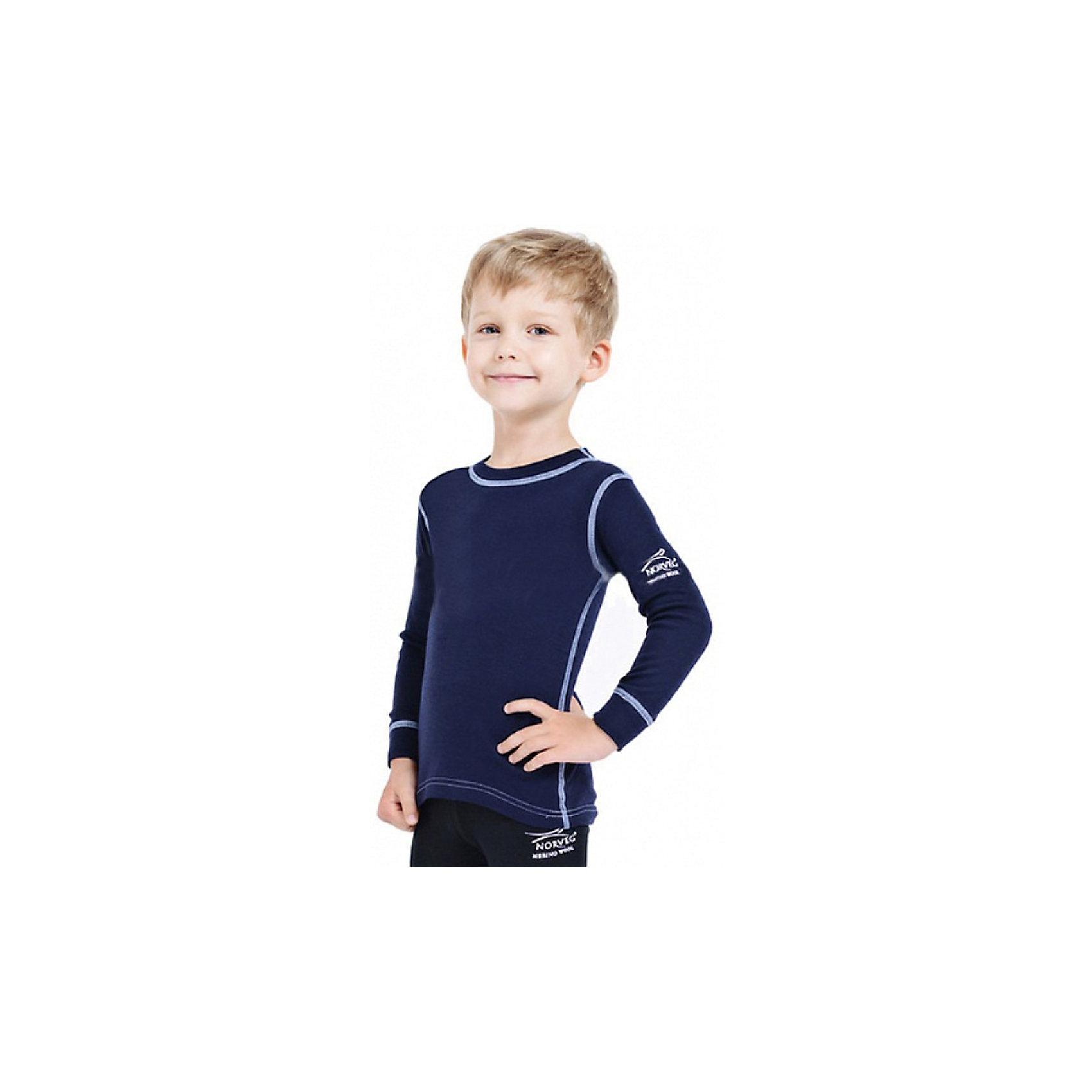 Футболка с длинным рукавом для мальчика NorvegФутболки с длинным рукавом<br>Футболка с длинным рукавом от известного бренда Norveg<br><br>Термофутболка Norveg Soft Shirt от немецкой компании Norveg (Норвег) - это удобная и красивая одежда, которая обеспечит комфортную терморегуляцию тела и на улице, и в помещении. <br>Она сделана из шерсти мериноса (австралийской тонкорунной овцы), которая обладает гипоаллергенными свойствами, поэтому не вызывает раздражения, даже если надета на голое тело.<br><br>Отличительные особенности модели:<br><br>- цвет: синий;<br>- швы плоские, не натирают и не мешают движению;<br>- анатомические резинки;<br>- материал впитывает влагу и сразу выводит наружу;<br>- анатомический крой;<br>- подходит и мальчикам, и девочкам;<br>- не мешает под одеждой.<br><br>Дополнительная информация:<br><br>- Температурный режим: от - 20° С  до +20° С.<br><br>- Состав: 100% шерсть мериноса<br><br>Футболку с длинным рукавом Norveg (Норвег) можно купить в нашем магазине.<br><br>Ширина мм: 230<br>Глубина мм: 40<br>Высота мм: 220<br>Вес г: 250<br>Цвет: синий<br>Возраст от месяцев: 3<br>Возраст до месяцев: 6<br>Пол: Мужской<br>Возраст: Детский<br>Размер: 68/74,116/122,80/86,92/98,104/110,128/134<br>SKU: 3895025