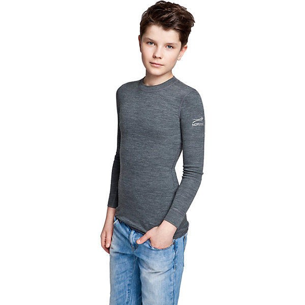 Футболка с длинным рукавом NorvegФутболки с длинным рукавом<br>Футболка с длинным рукавом от известного бренда Norveg<br><br>Термофутболка Norveg Soft Teens от немецкой компании Norveg (Норвег) - это удобная и красивая одежда, которая обеспечит комфортную терморегуляцию тела и на улице, и в помещении. <br>Она сделана из шерсти мериноса (австралийской тонкорунной овцы), которая обладает гипоаллергенными свойствами, поэтому не вызывает раздражения, даже если надета на голое тело.<br><br>Отличительные особенности модели:<br><br>- цвет: серый, на плече - принт;<br>- швы плоские, не натирают и не мешают движению;<br>- анатомические резинки;<br>- материал впитывает влагу и сразу выводит наружу;<br>- анатомический крой;<br>- подходит и мальчикам, и девочкам;<br>- не мешает под одеждой.<br><br>Дополнительная информация:<br><br>- Температурный режим: от - 20° С  до +20° С.<br><br>- Состав: 100% шерсть мериноса<br><br>Футболку с длинным рукавом Norveg (Норвег) можно купить в нашем магазине.<br><br>Ширина мм: 215<br>Глубина мм: 88<br>Высота мм: 191<br>Вес г: 336<br>Цвет: серый<br>Возраст от месяцев: 132<br>Возраст до месяцев: 144<br>Пол: Мужской<br>Возраст: Детский<br>Размер: 152/158,164/170,140/146<br>SKU: 3895086