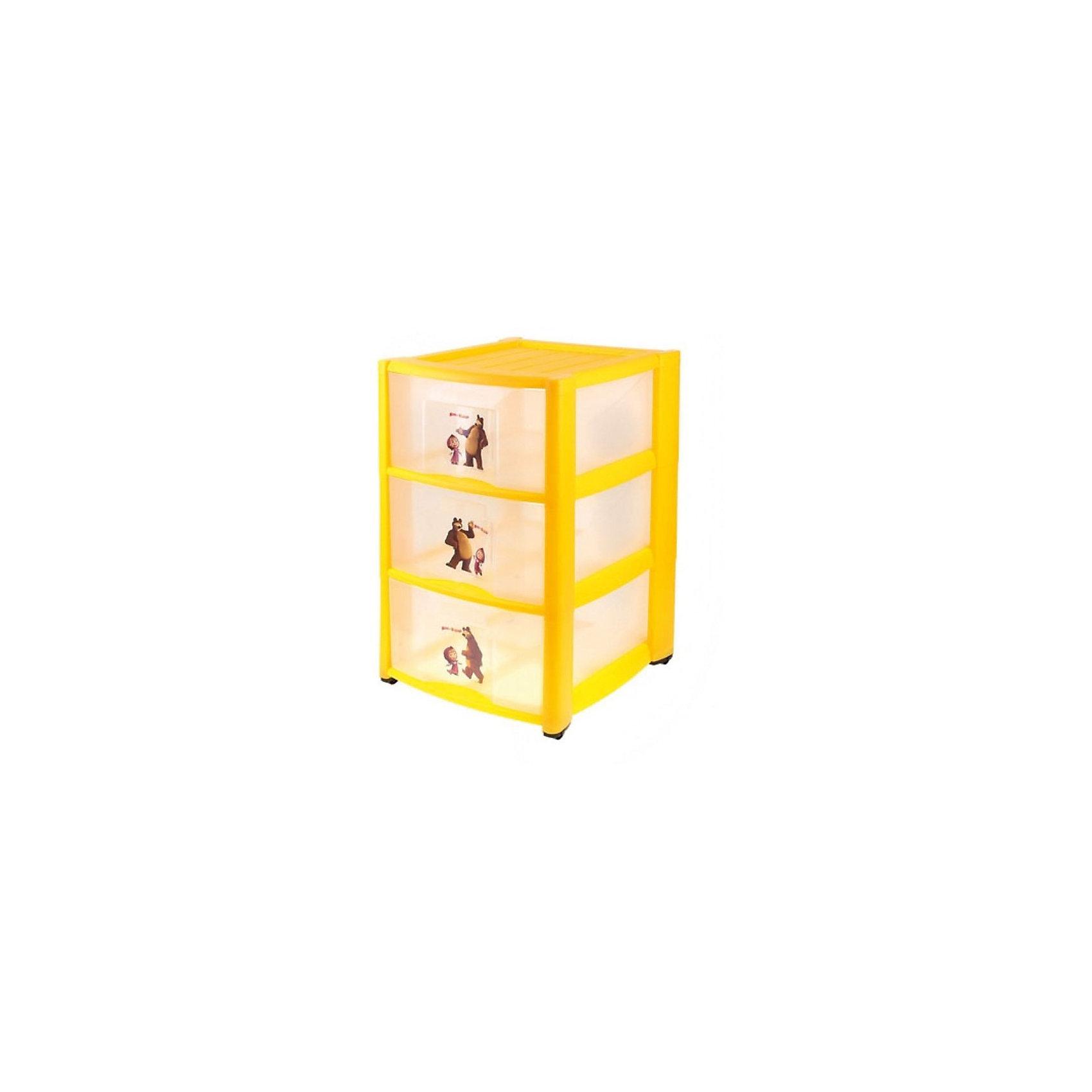 Пластиковый комод Маша и Медведь, 3 ящика, жёлтыйПластиковый комод Маша и Медведь- это отличное решение для хранения детских вещей таких как: игрушки,  книги и одежды ребенка. Отлично подойдет как для детской комнаты, так и  для ванной комнаты или для коридора. Ведь комод оборудован небольшими съемными колесиками, с помощью  которых его можно перемещать по квартире. Есть 3 вместительных ящика, которые  сделаны  из полупрозрачного пластика, и поэтому Вам не придется открывать все ящики для поиска нужной вещи.  На каждый ящик декорирован наклейками с изображениями Маши и Медведя из известного мультика Маша и медведь.<br><br>Дополнительная информация:<br><br>- не содержит бисфенола<br>- материал: полипропилен гипоаллергенный материал<br>-цвет: желтый<br>- размер: 39*37*60 см.<br>- размер упаковки :38,5*60,5 *36,5 см.<br><br>Детский пластиковый комод Маша и Медведь с 3-мя ящиками можно купить в нашем интернет-магазине.<br><br>Ширина мм: 390<br>Глубина мм: 370<br>Высота мм: 600<br>Вес г: 3400<br>Возраст от месяцев: -2147483648<br>Возраст до месяцев: 2147483647<br>Пол: Унисекс<br>Возраст: Детский<br>SKU: 3895290